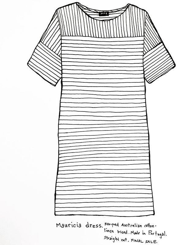 Americans like stripes more than the French. 🇺🇸🇫🇷 #apc #stripes #retailfashion #frenchfashion #blackandwhite #drawing #dailydraw #penandpaper #illustration #drawnbysarah