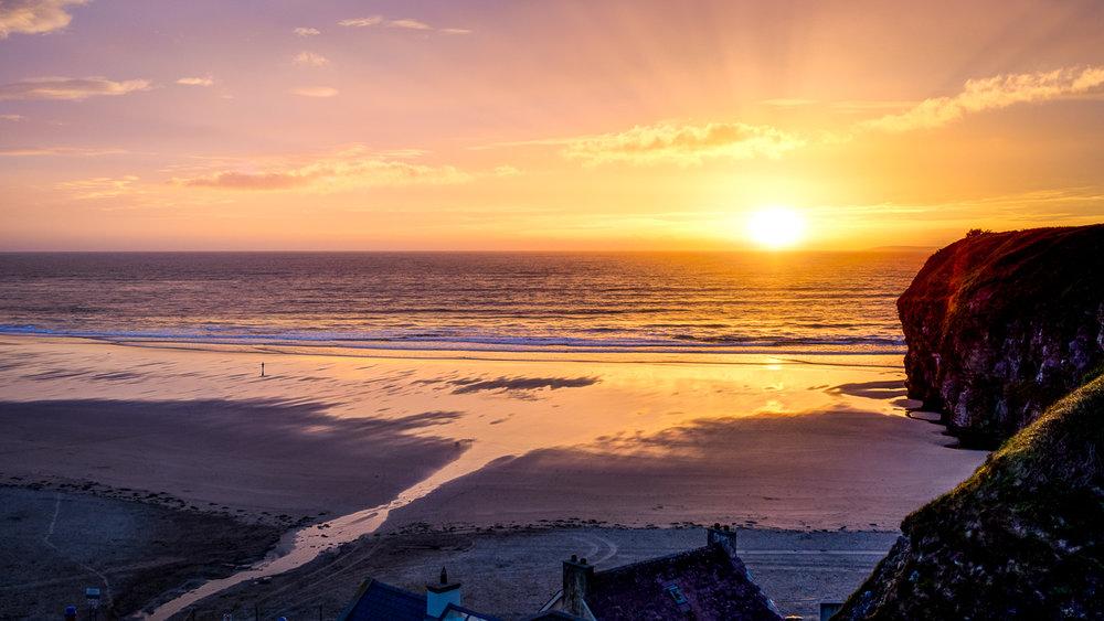 Sunset over Ballybunnion Beach