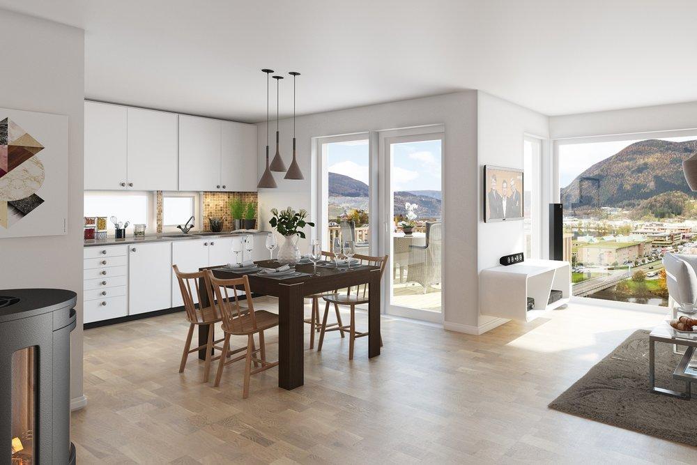 Kjøkken frå Huseby - Kjøkken er innreia med Modell Sirius frå Huseby sitt nye prosjektsortiment