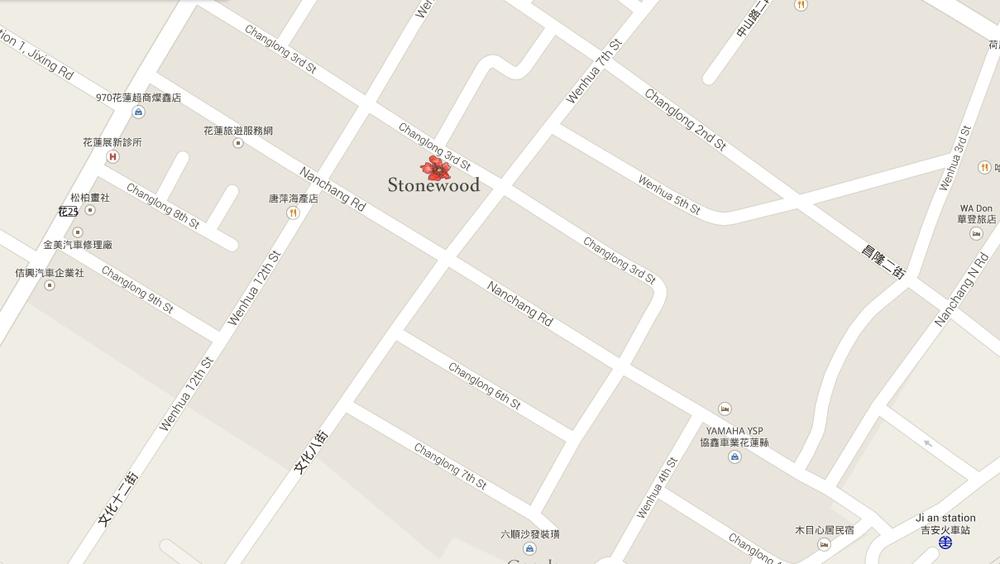 (地圖可放大看 ) 從吉安火車站出發 到  一石一木  步行只需7分鐘