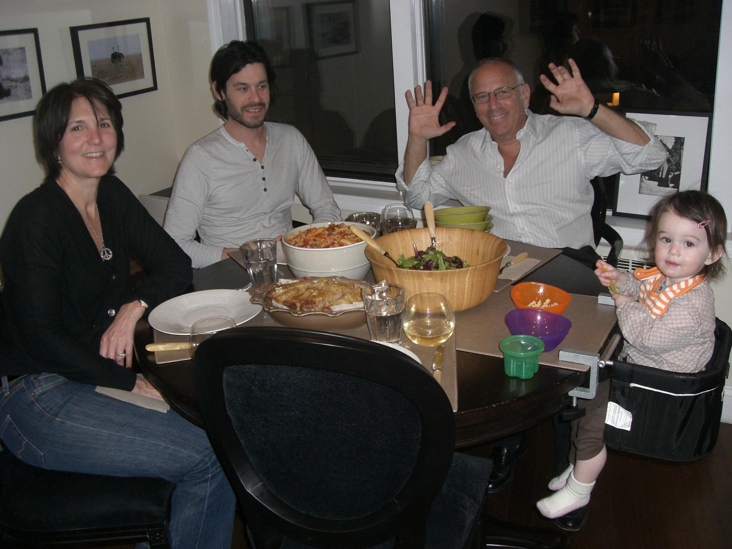 Vegan pasta family dinner.