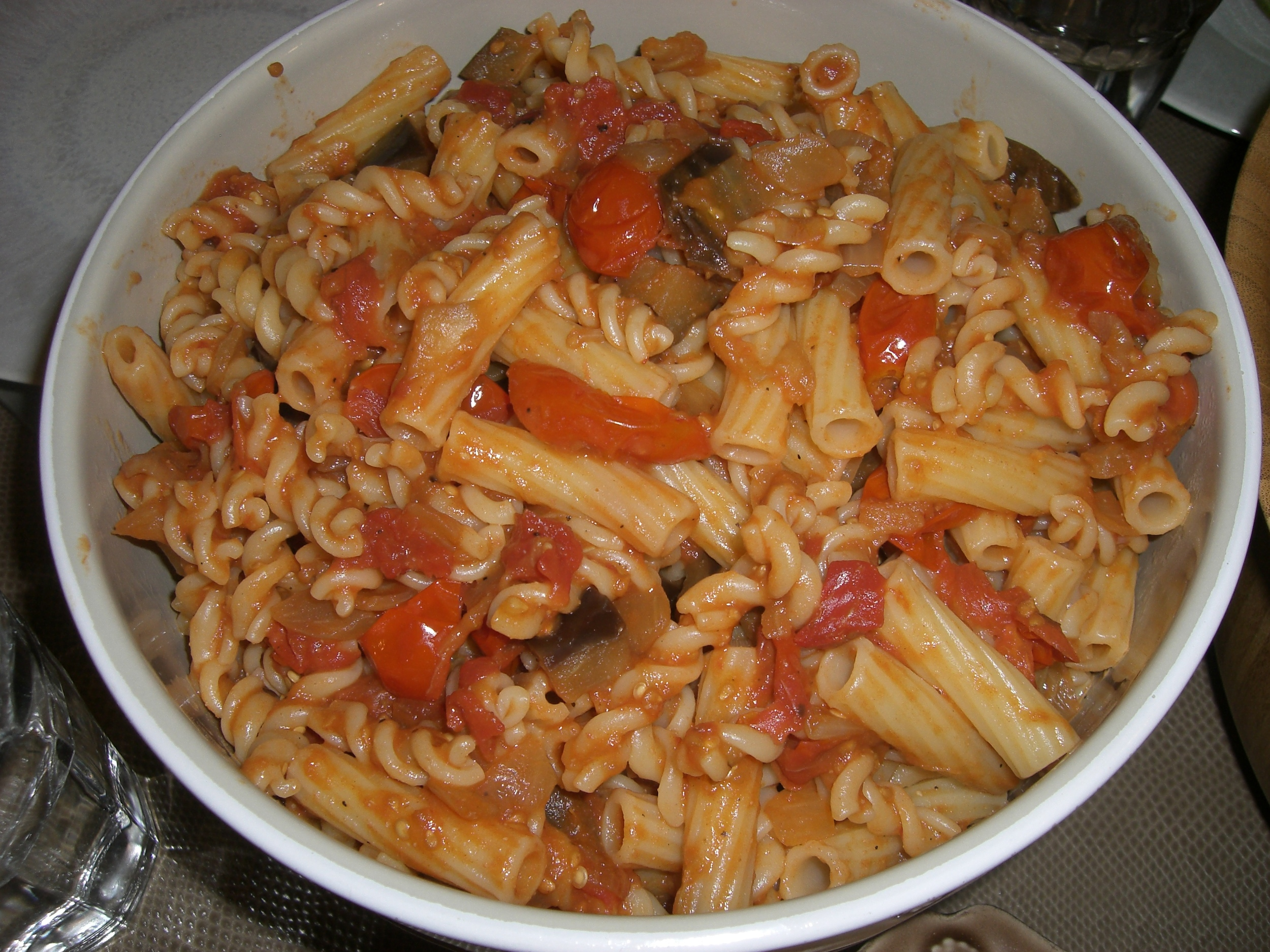 Vegan pasta is easy and delicious and really filling.