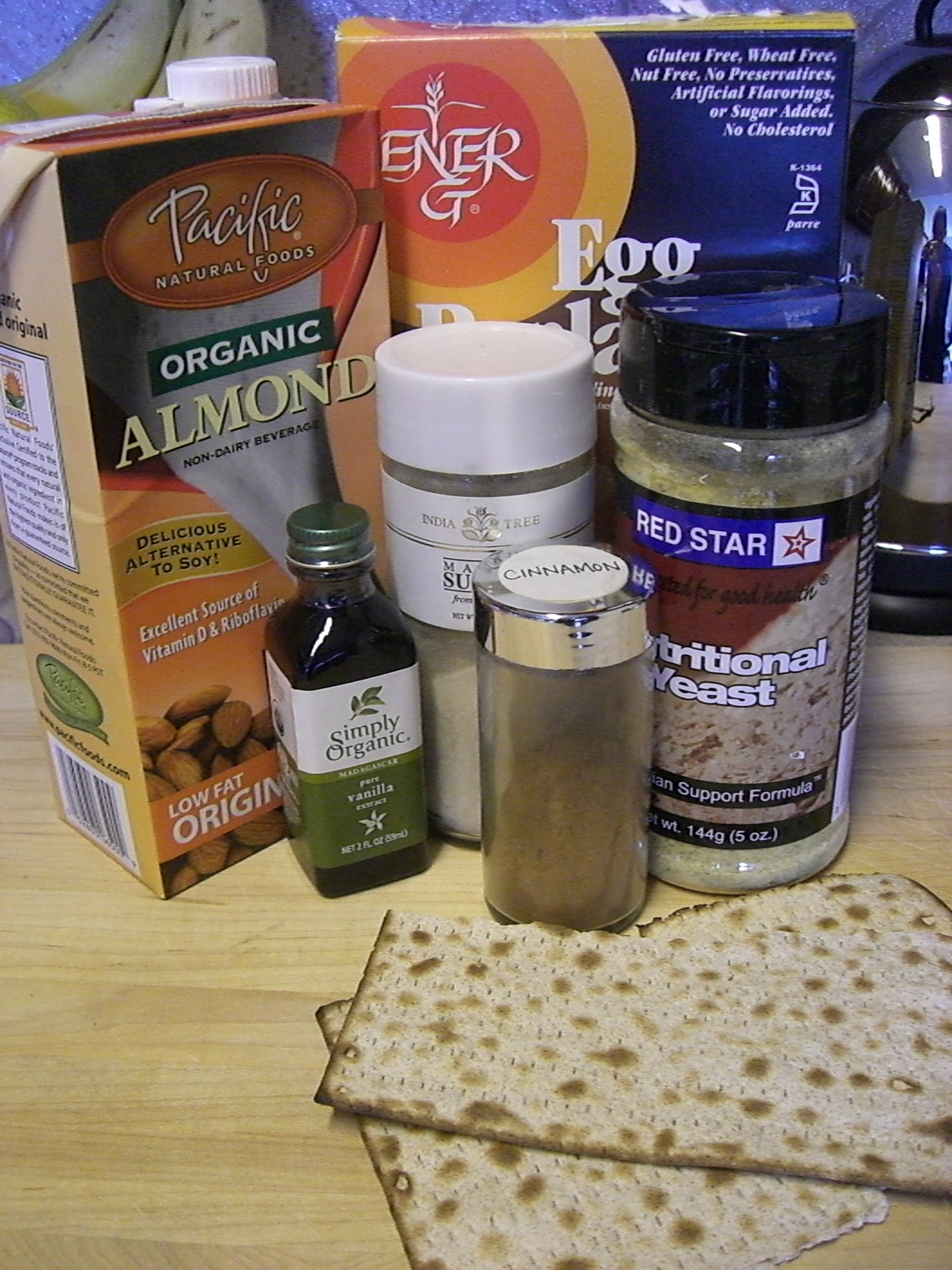 Vegan Matza Brei ingredients.