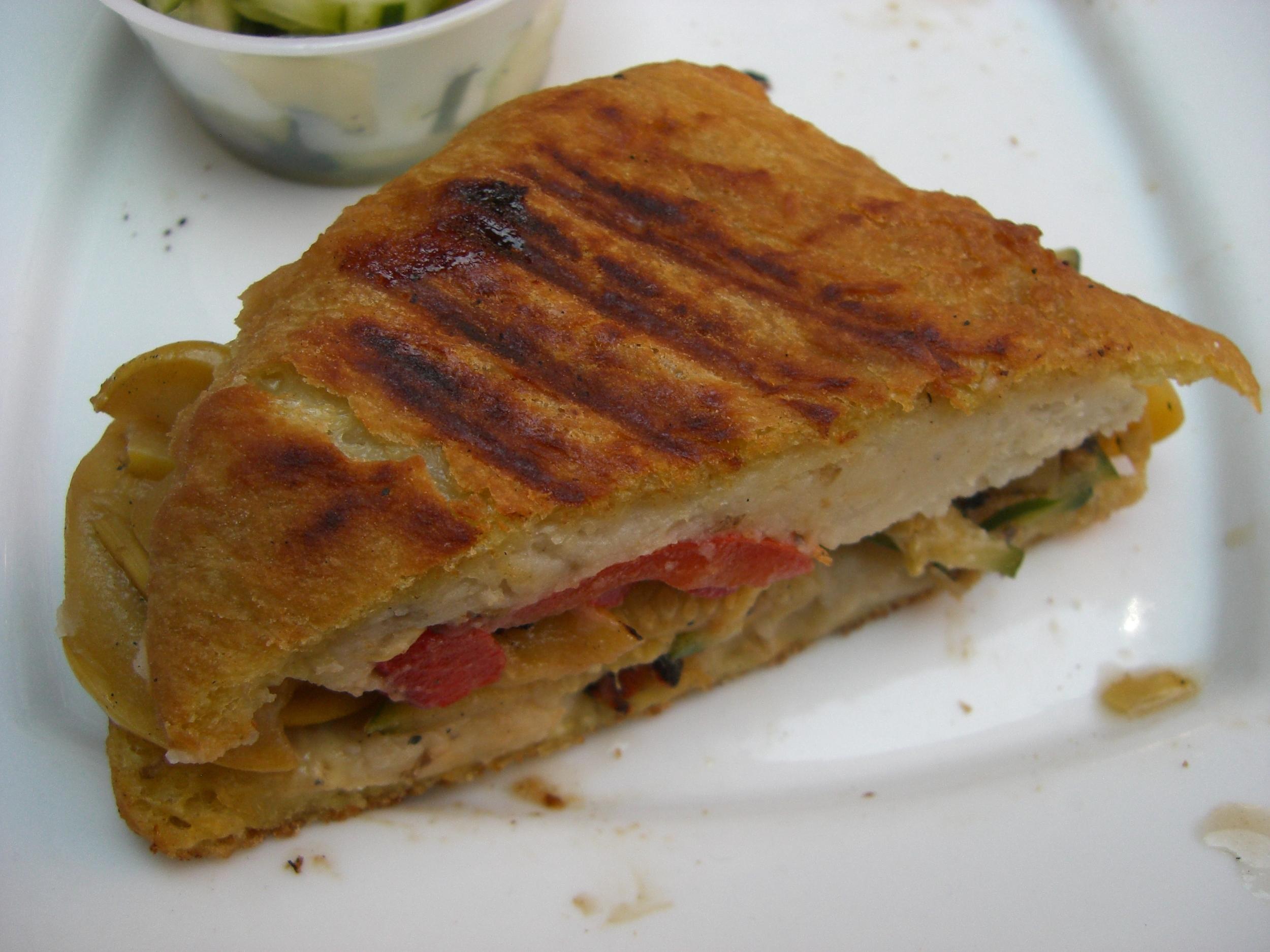 Veggie knish sandwich