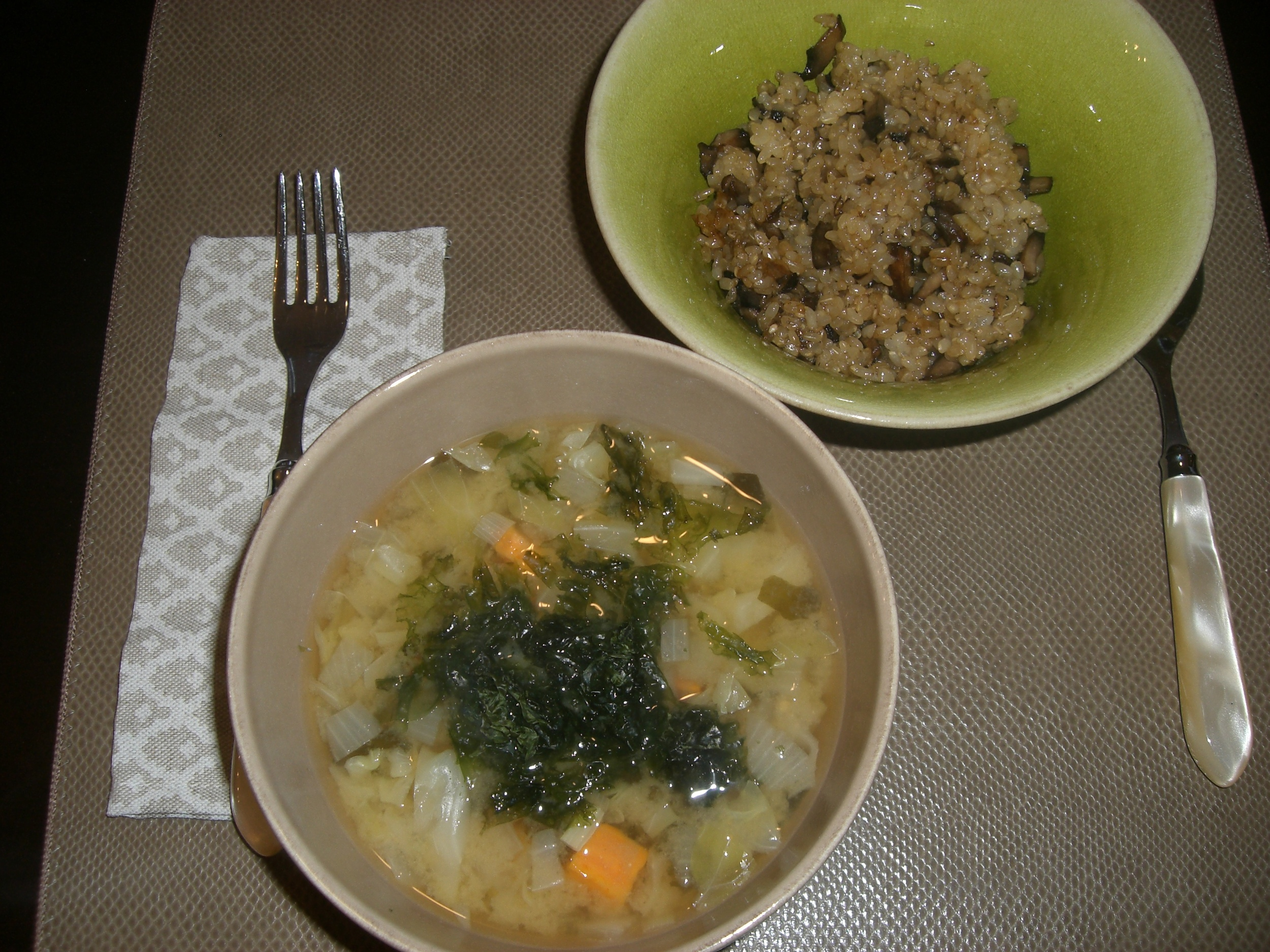 Miso Soup and Portobello Fried Rice