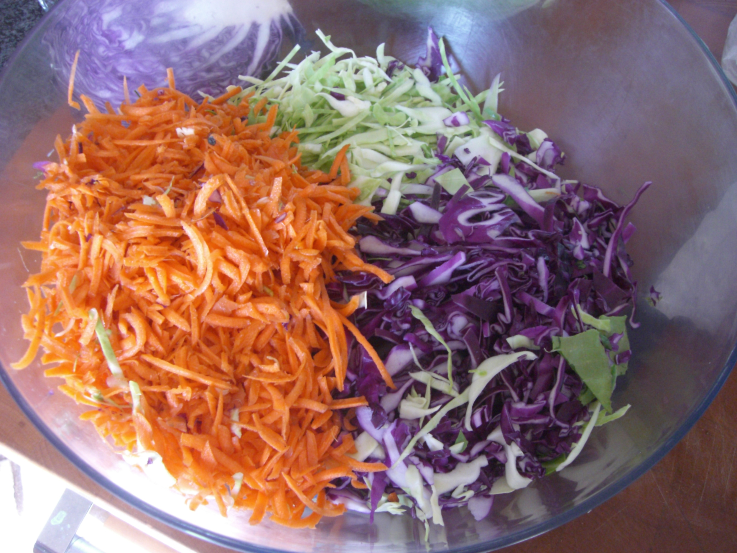 Cole Slaw veggies for vegan cole slaw.