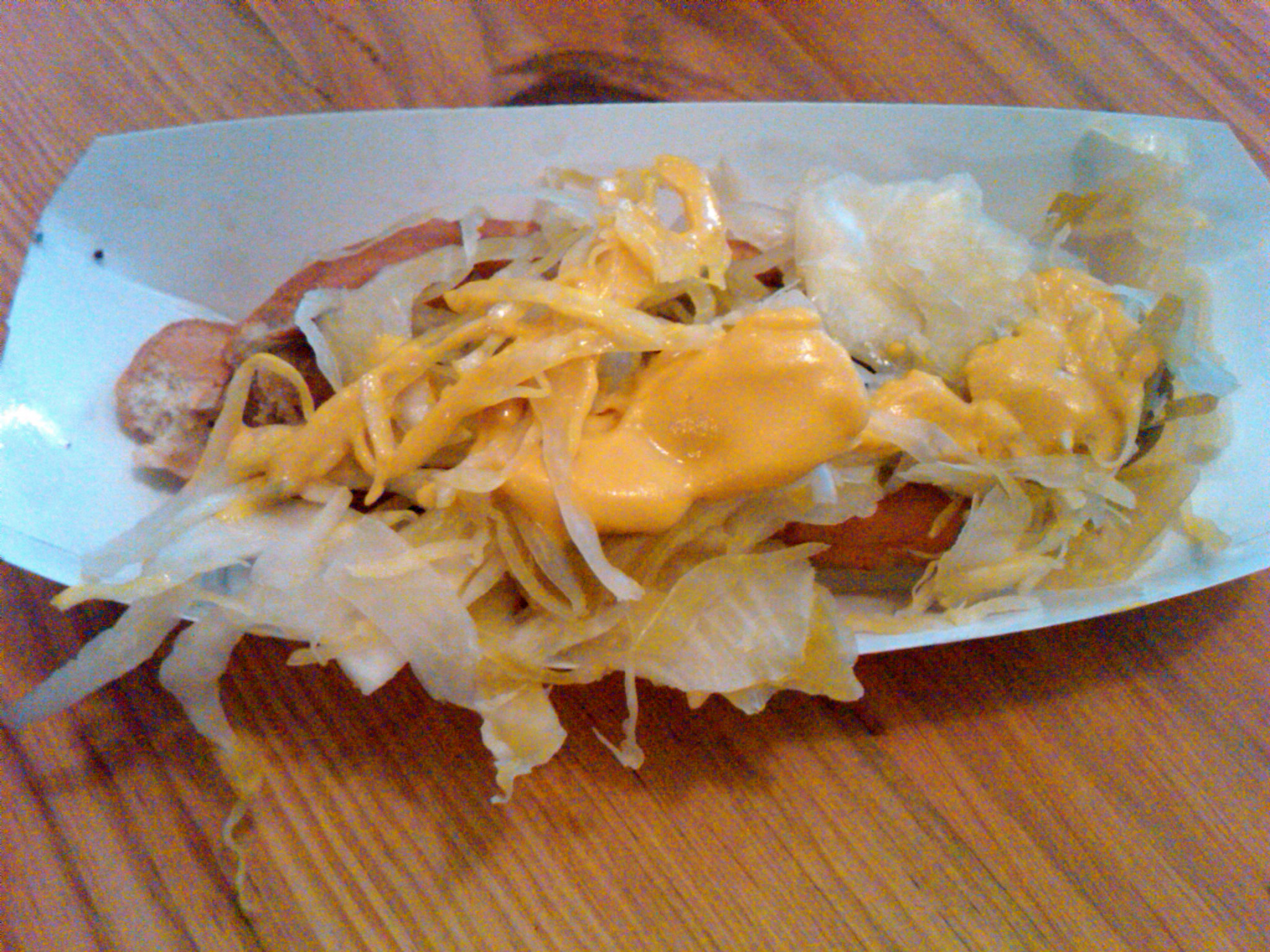 A Bark messy kraut and mustard veggie dog.