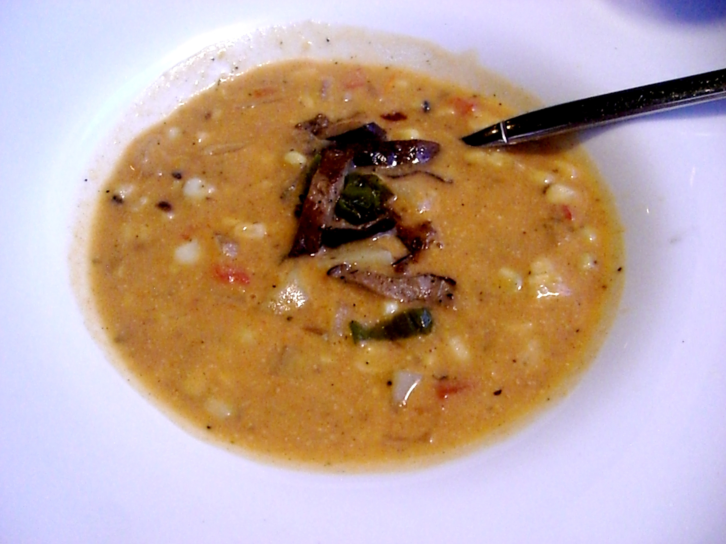 This vegan roasted corn chowder was totally tasty.
