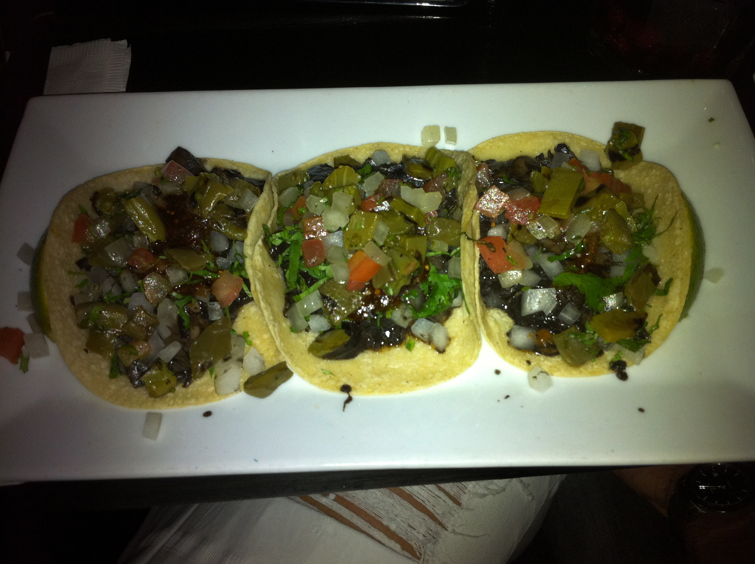 Mushroom tacos are maybe our favorite choice at mexican restaurants and they're totally vegan!