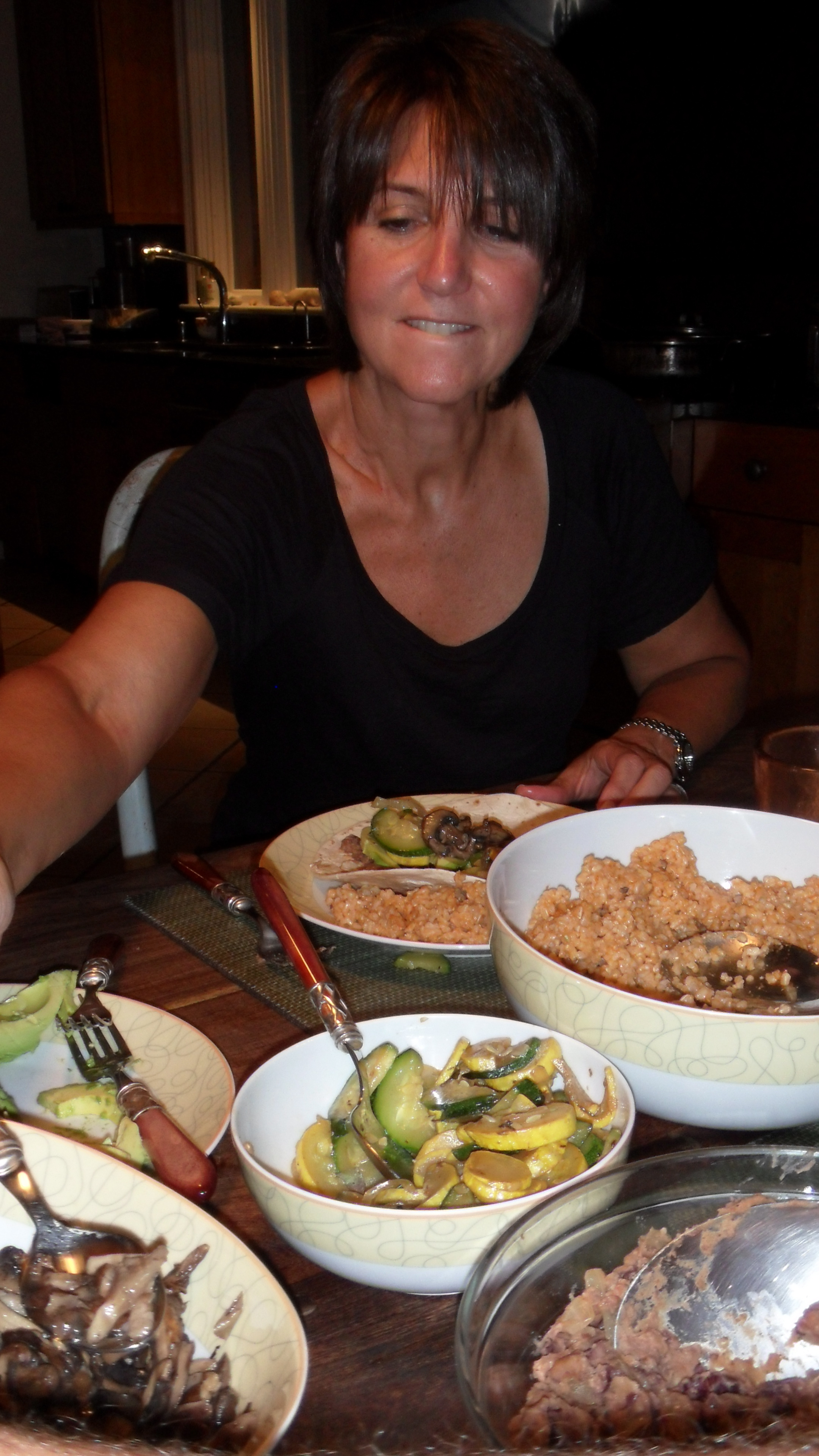 Mom totally dug in and was impressed with vegan taco night!
