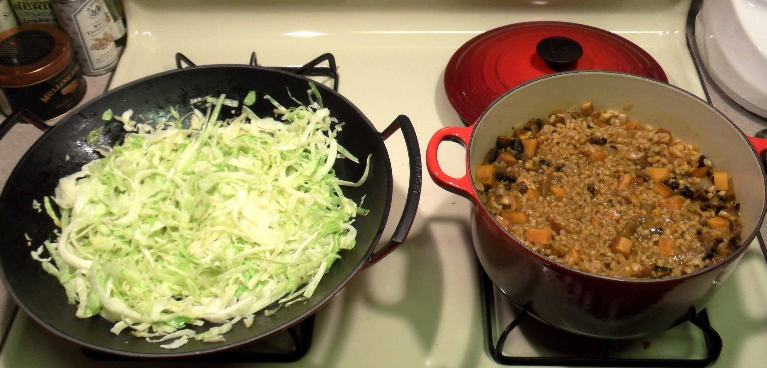 Here I am using two le creusets to cook a vegan dinner!
