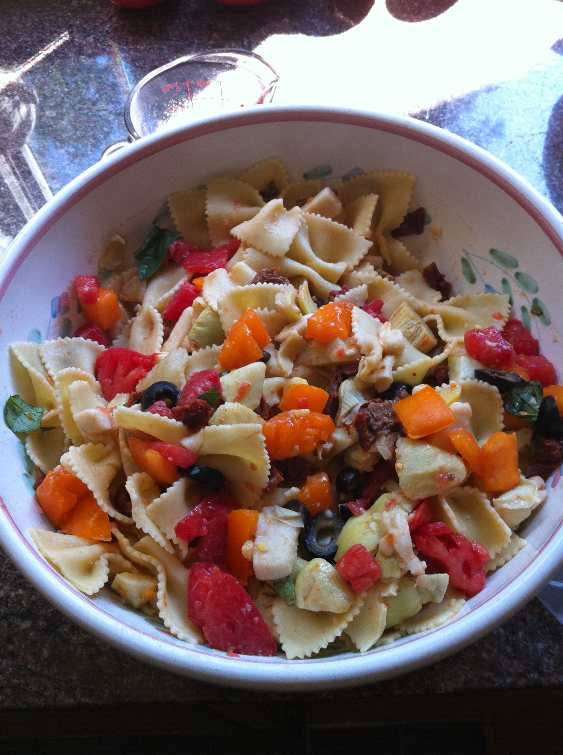 This vegan pasta had tons of veggies, vegan mozzarella, and balsamic dressing.