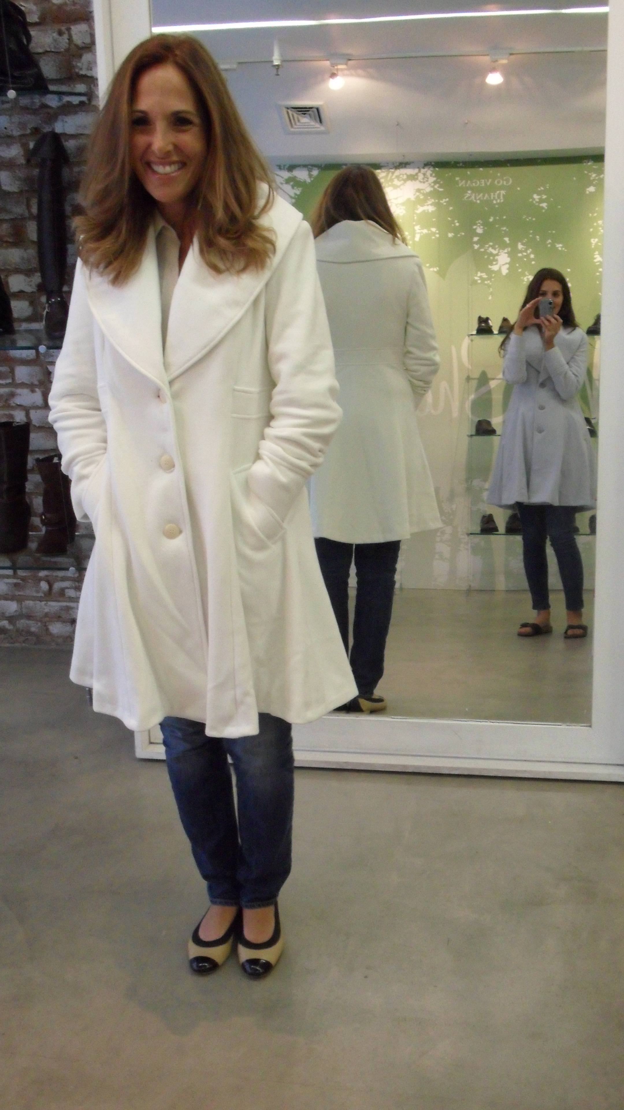 This white coat looked great on Aunt Bonnie and was perfect for jeans or a dress!