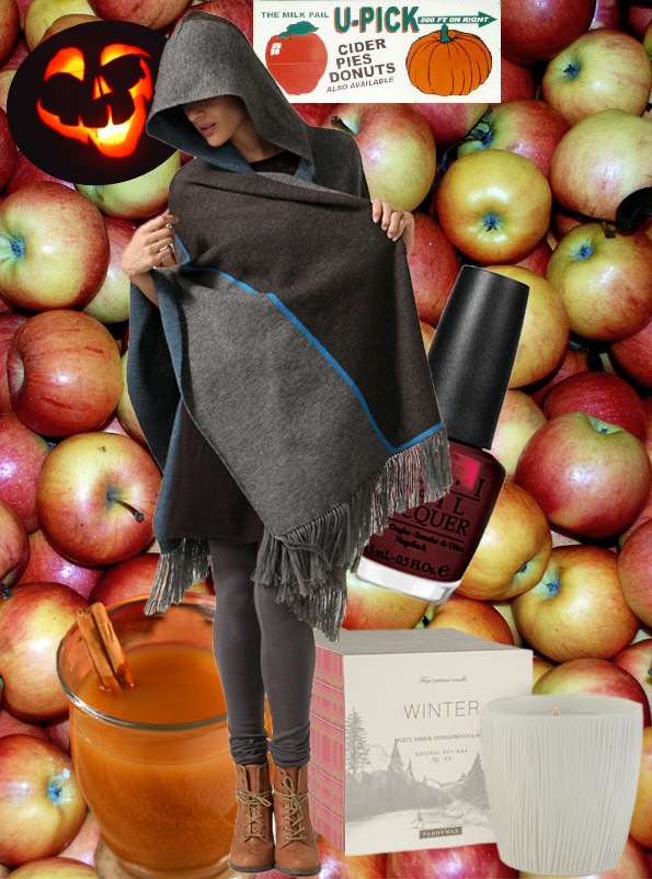 All things fall make me happy like these apples, cider, dark nail polish, vegan sweaters, and soy candles!