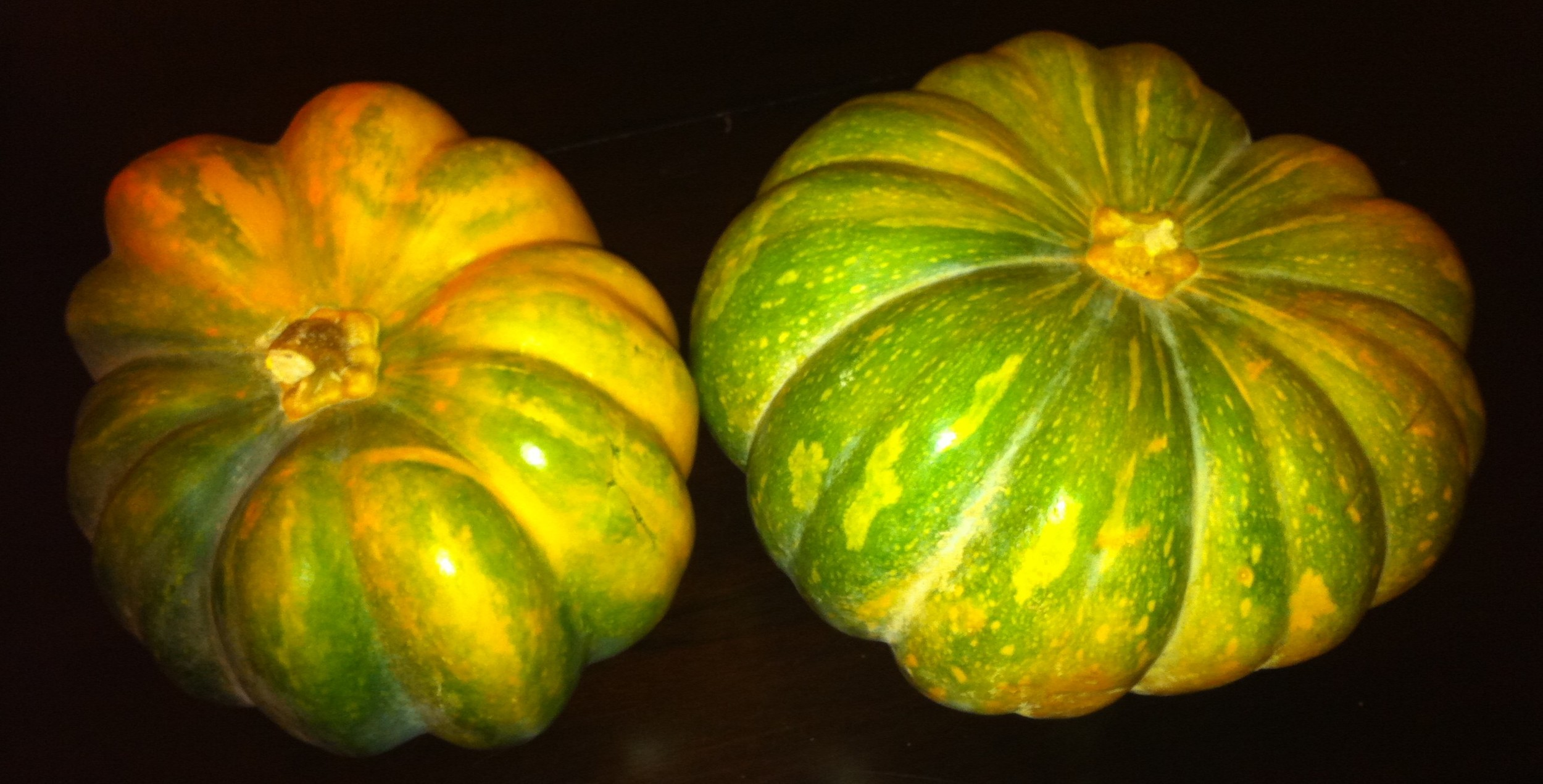 "These fairytale pumpkins are gorgeous and according to the sign: ""Great for Cooking!"".  I bet they'd make a beautiful bowl for a vegan soup to be cooked in!"