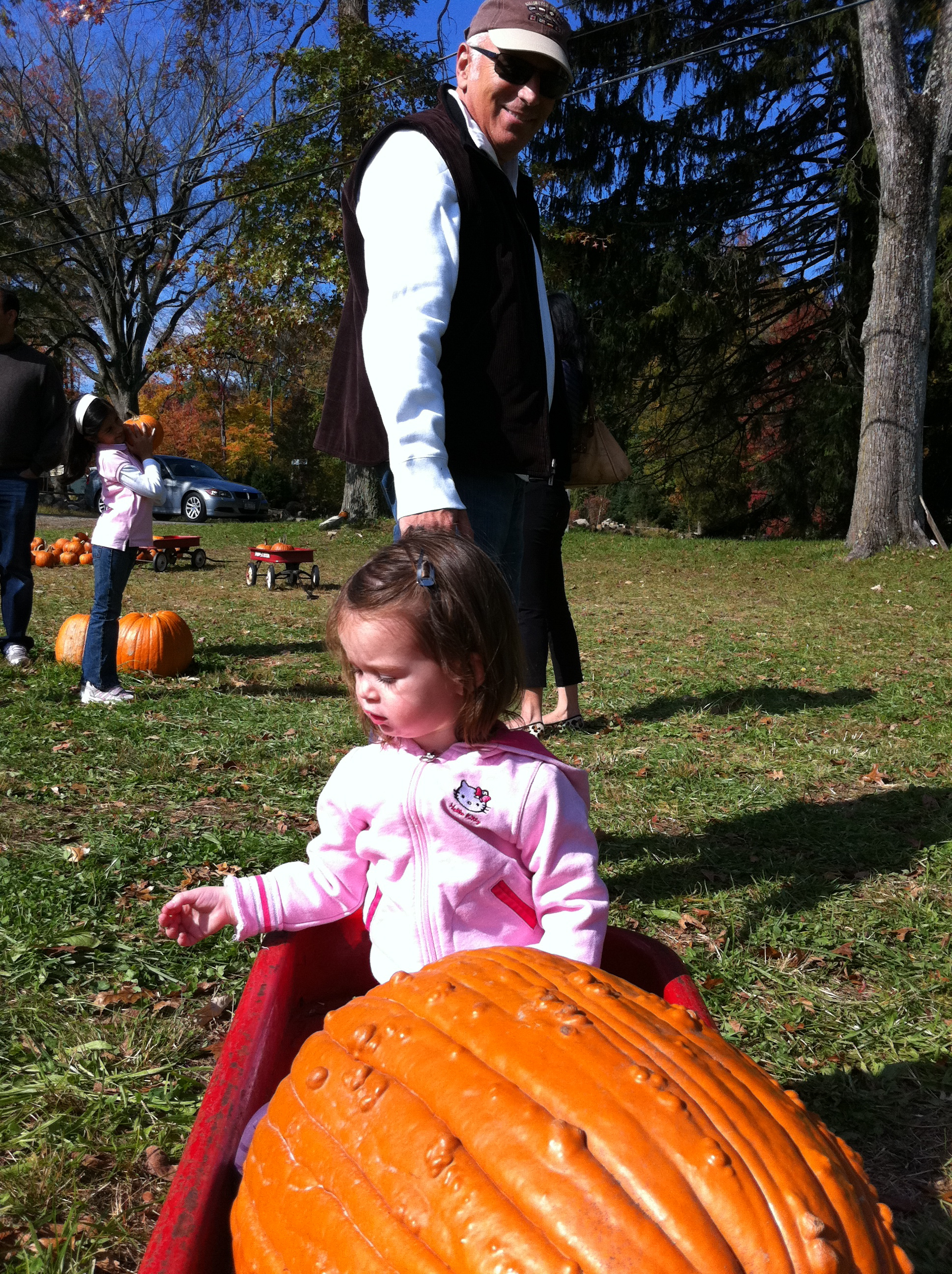 Avi's a big boss and made my Dad pull her and a humungous pumpkin in the wagon.