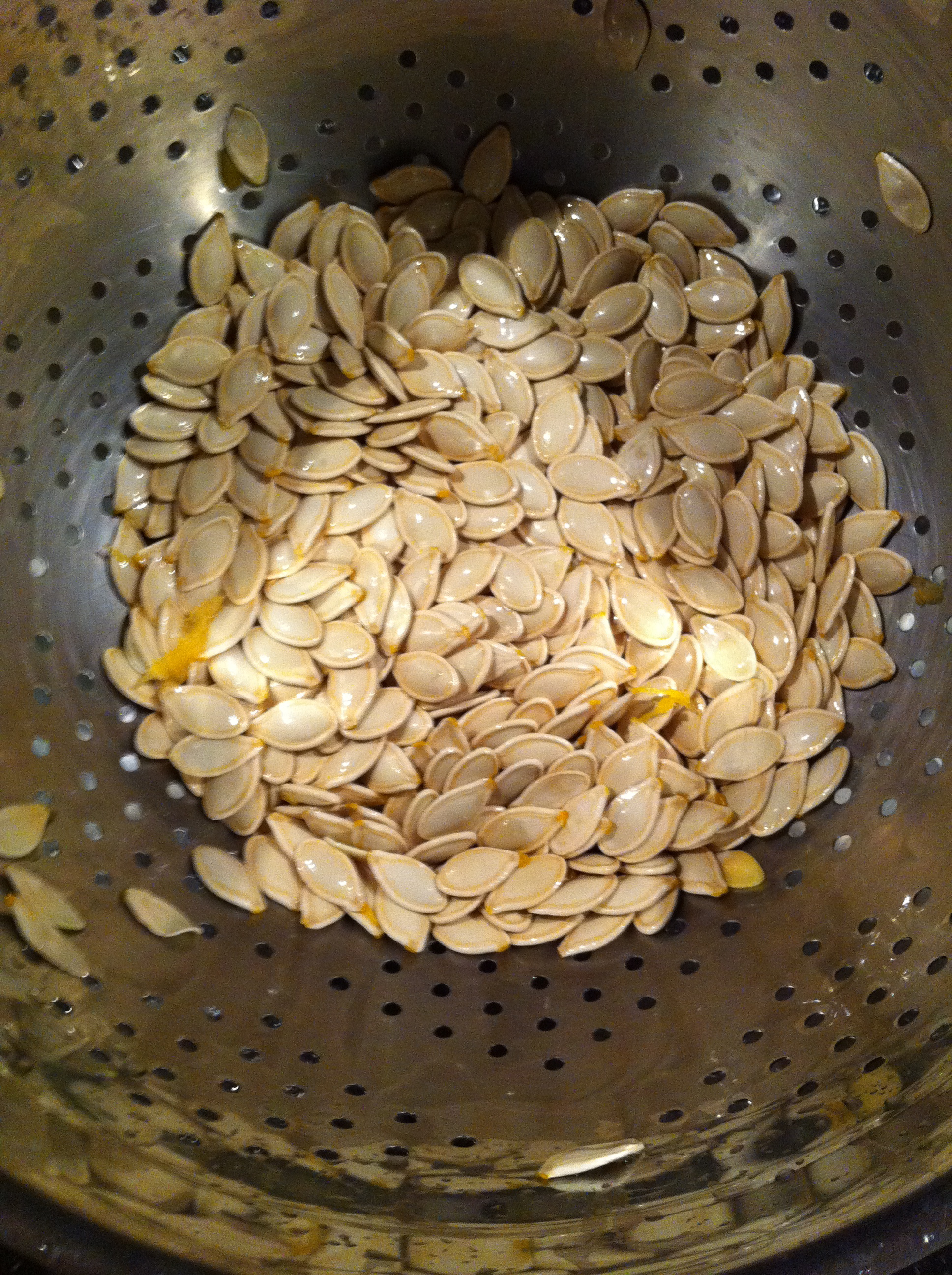 Rinsed pumpkin seeds ready to be prepared.