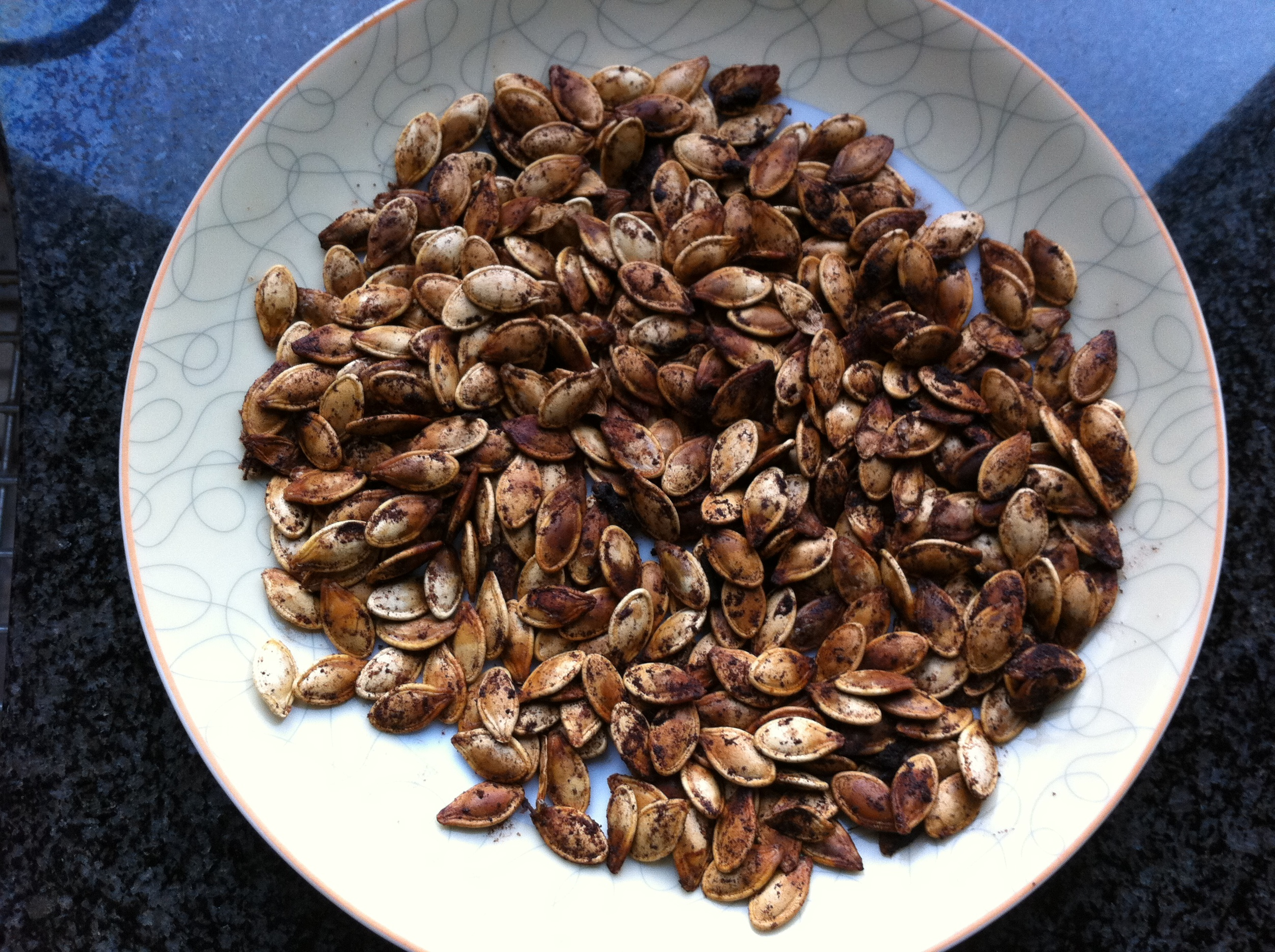 These pumpkin seeds are spiced perfectly and totally healthy.