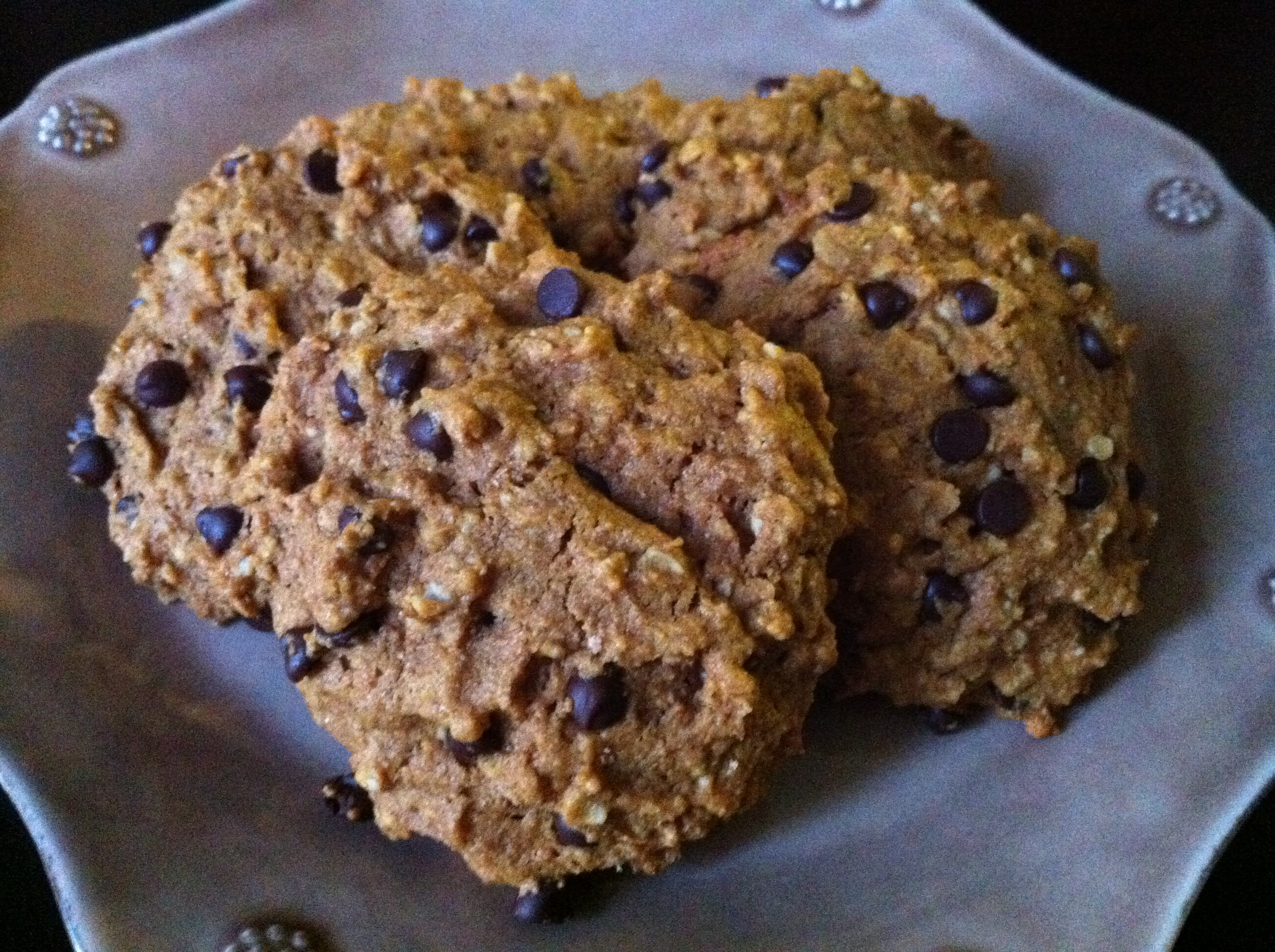 These vegan pumpkin oat chocolate chip cookies were delicious and totally nutritious.