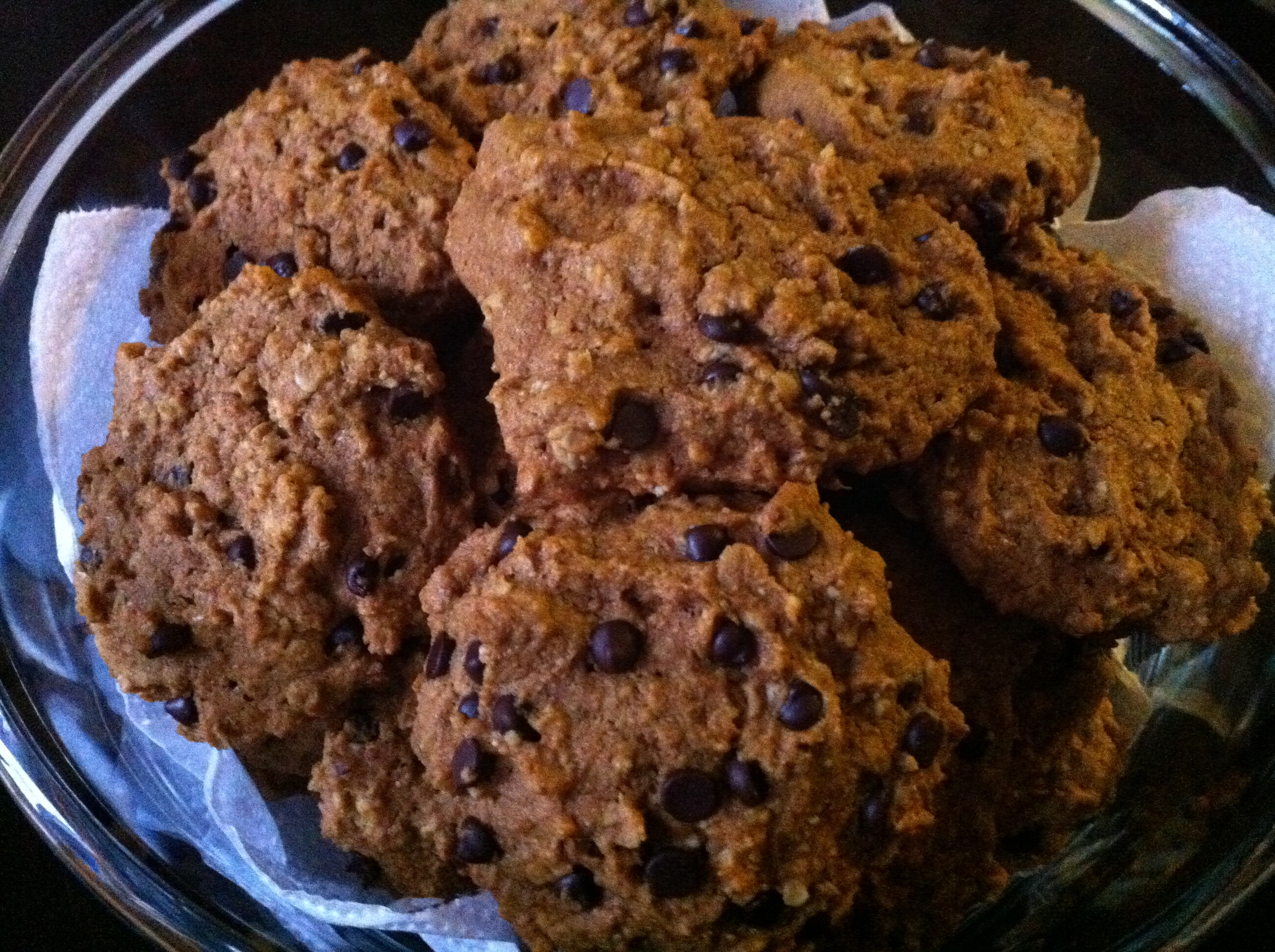 Vegan Pumpkin Oat Chocolate Chip Cookies ready to eat.