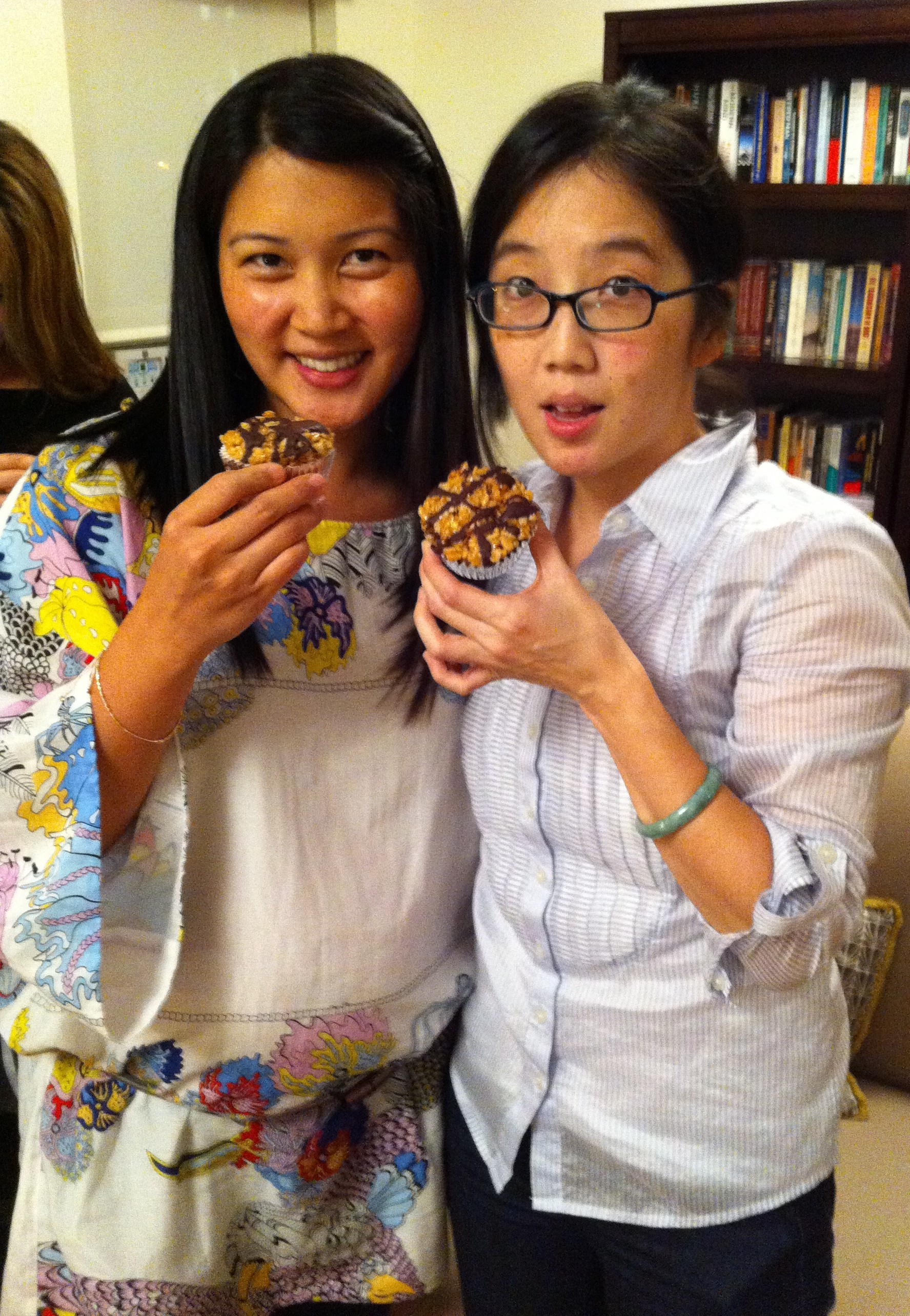 Denise and Karen took the first tastes of the vegan brown rice crispy treats.
