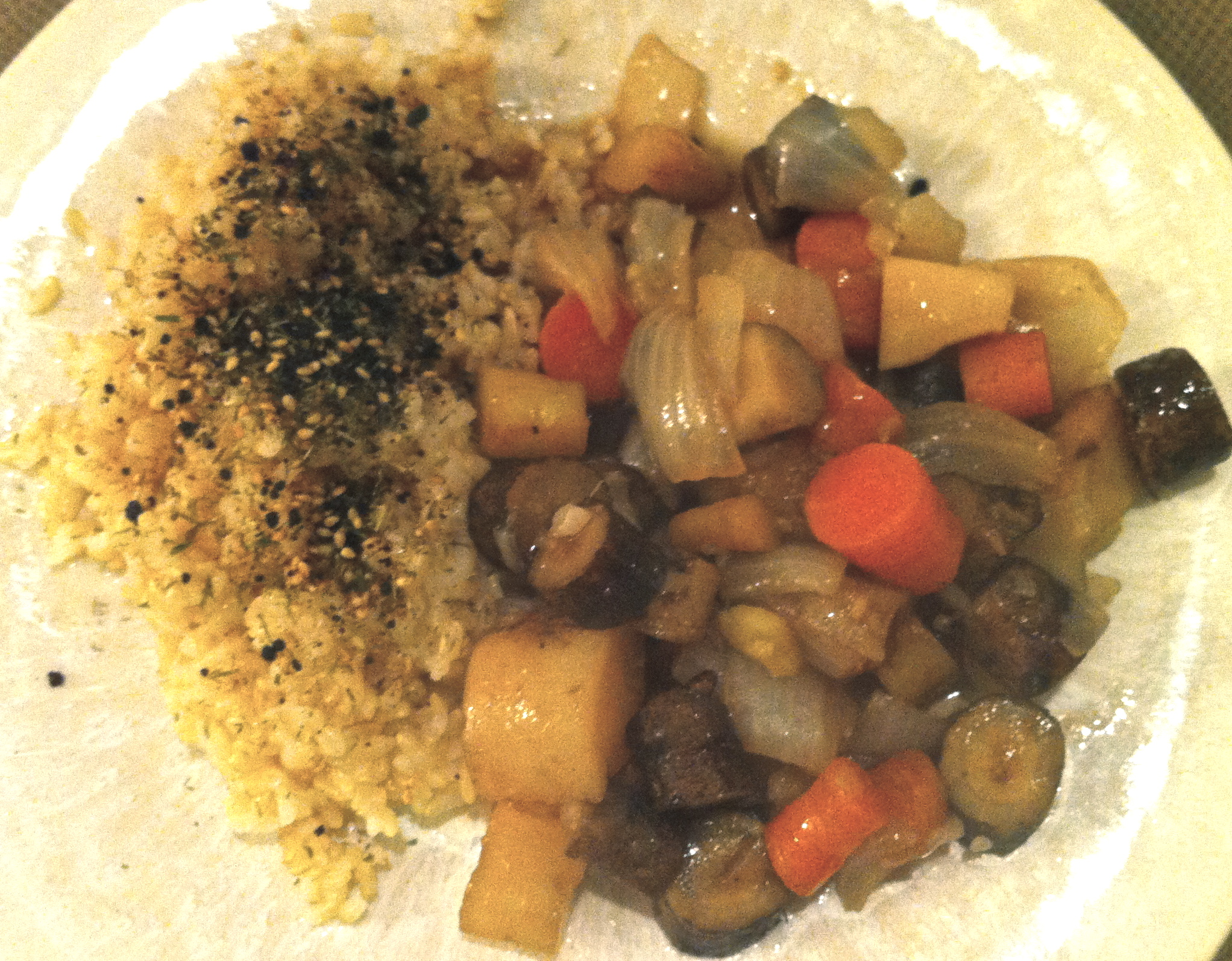 This dinner of brown rice and nishime vegetables is the perfect macrobiotic and vegan meal.