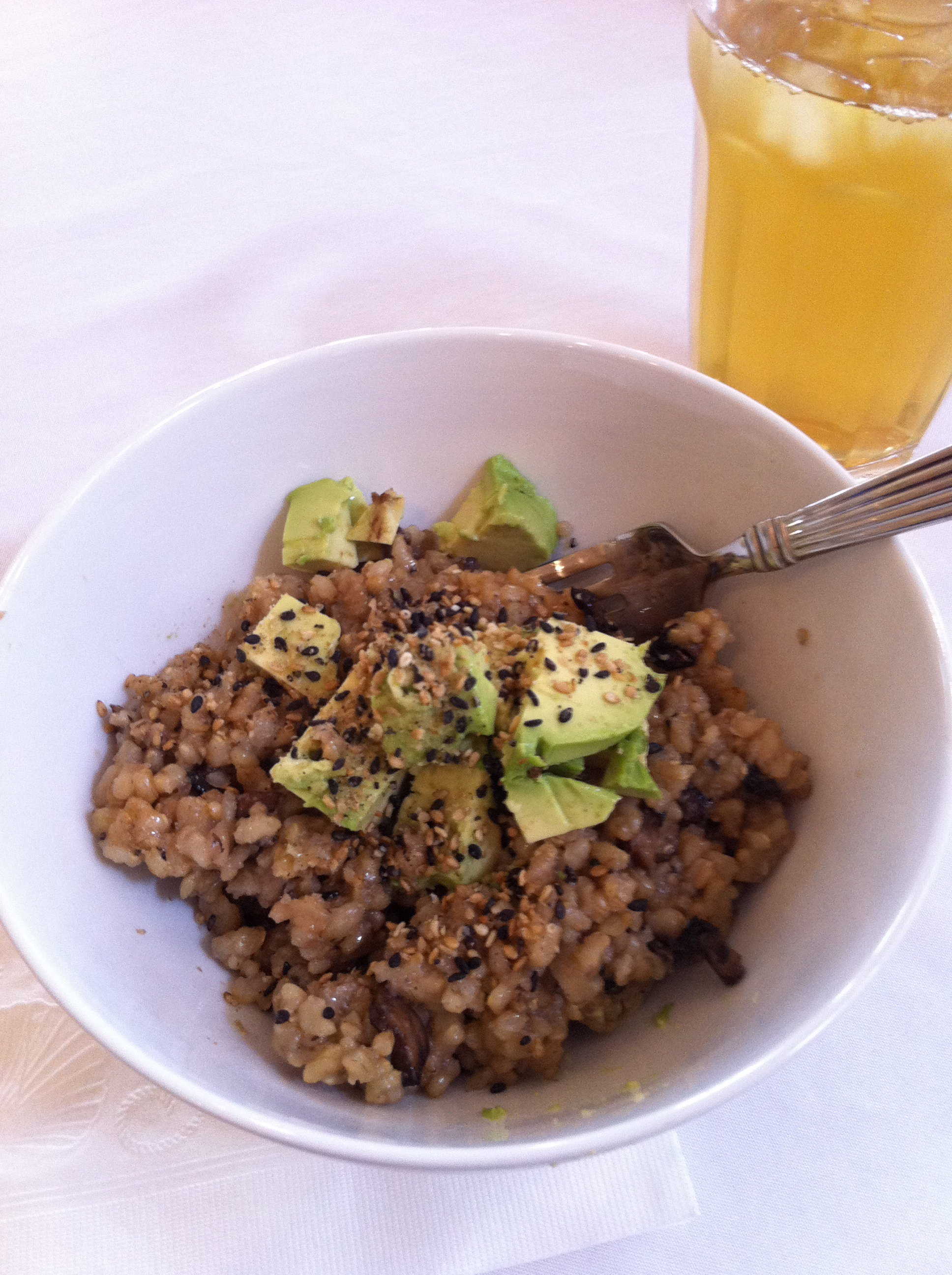 Fried brown rice and gomasio make a fantabulous vegan lunch.