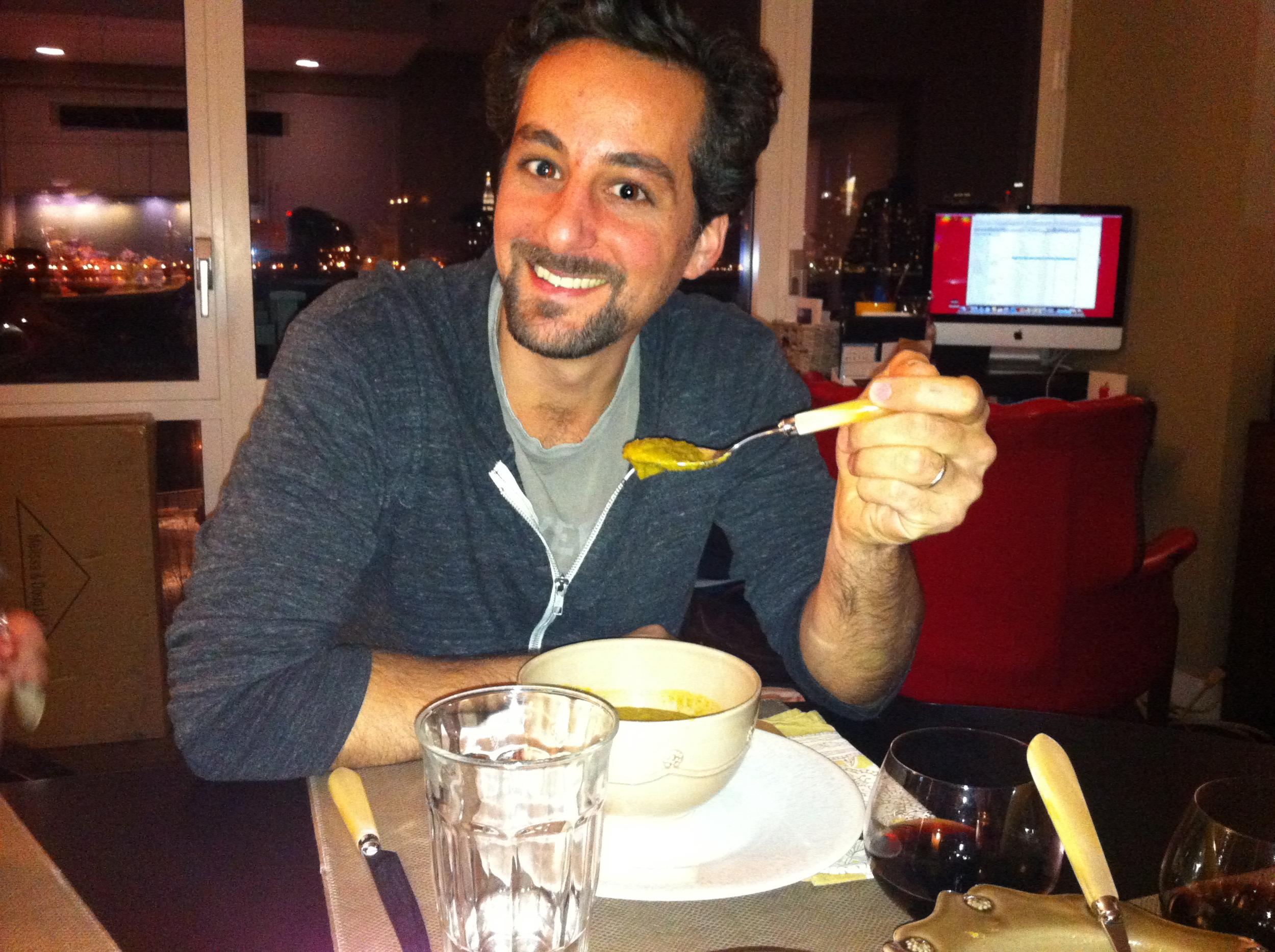 Chris totally loved the vegan lentil soup.