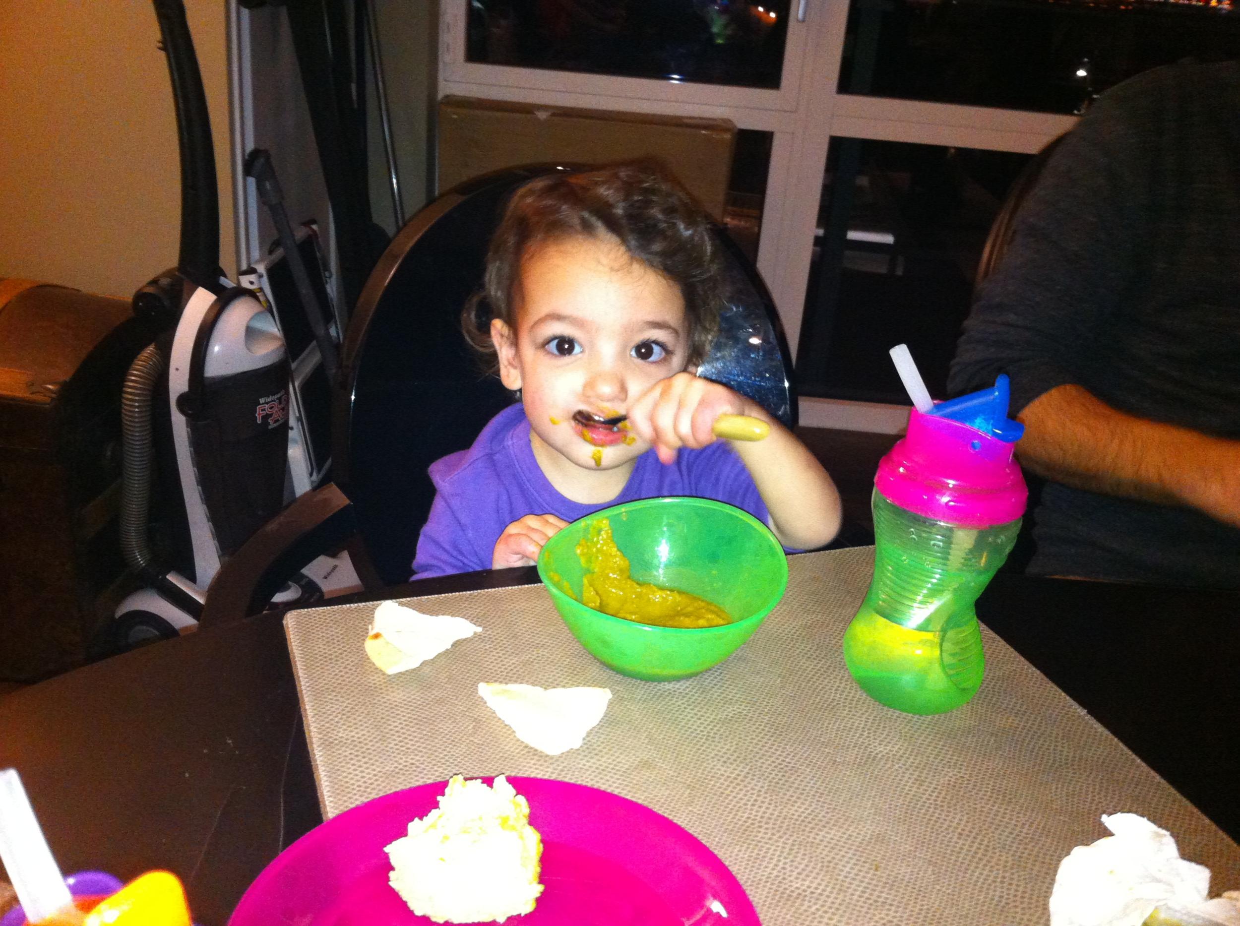Lola totally loved her vegan blended lentil soup.