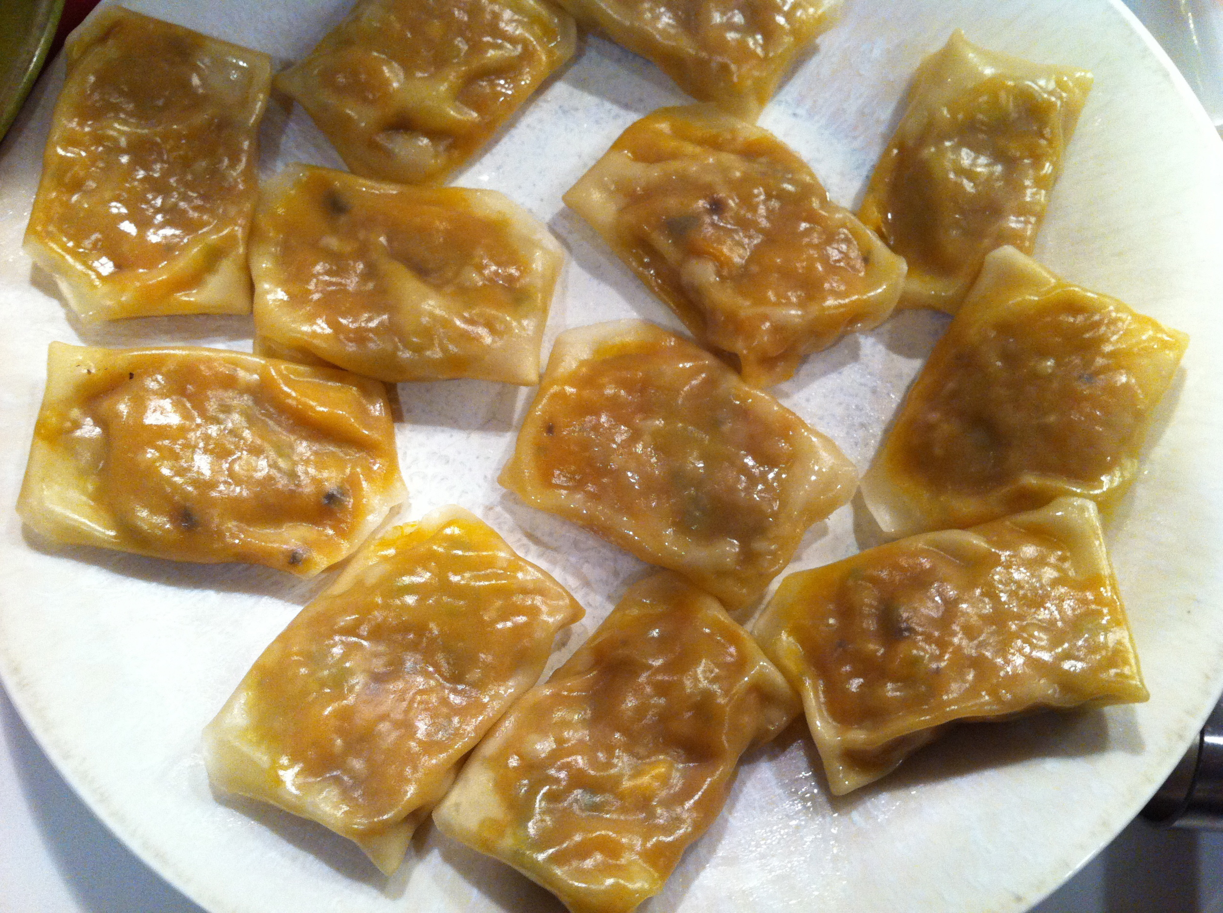 These steamed wontons are vegan and filled with kabocha squash.