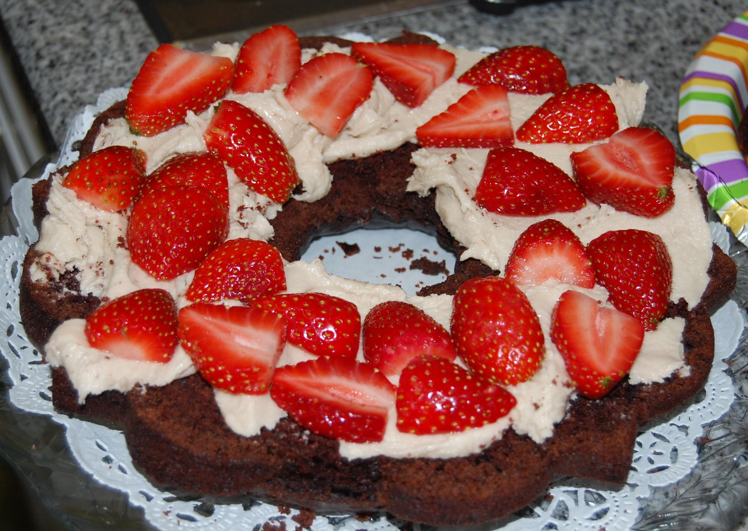 Layer 1 pf Liza's Vegan Chocolate Strawberry Shortcake