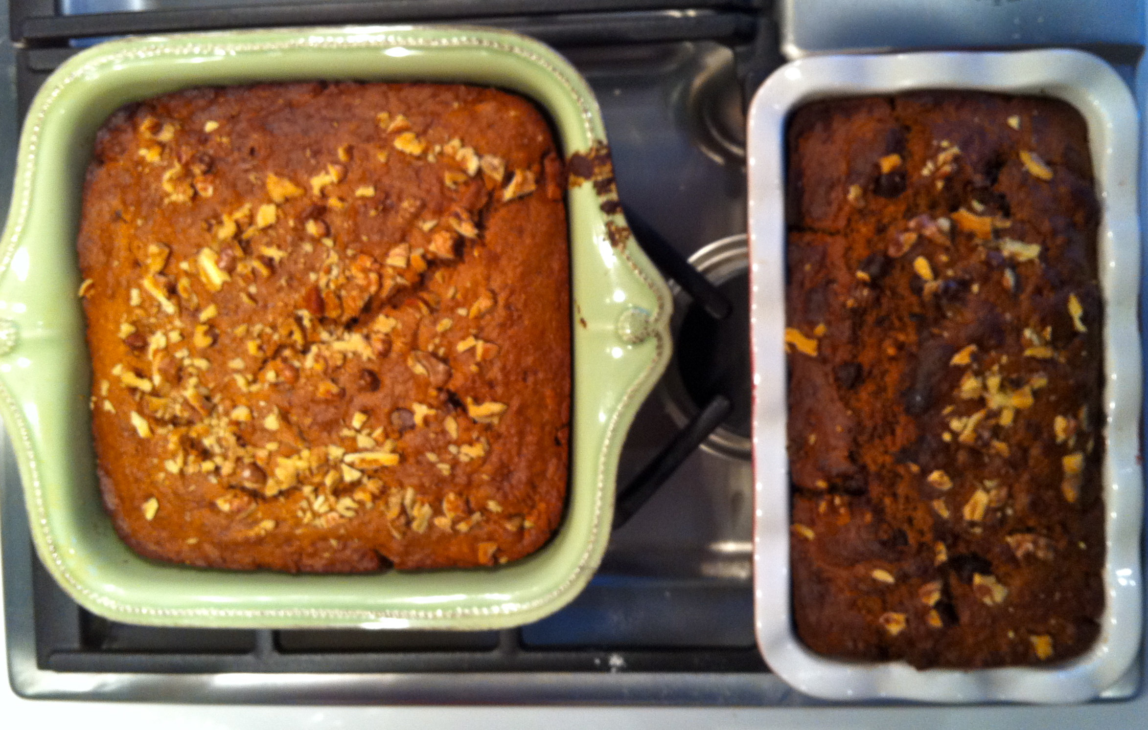 Here are both of my vegan banana breads and they smell delicious!