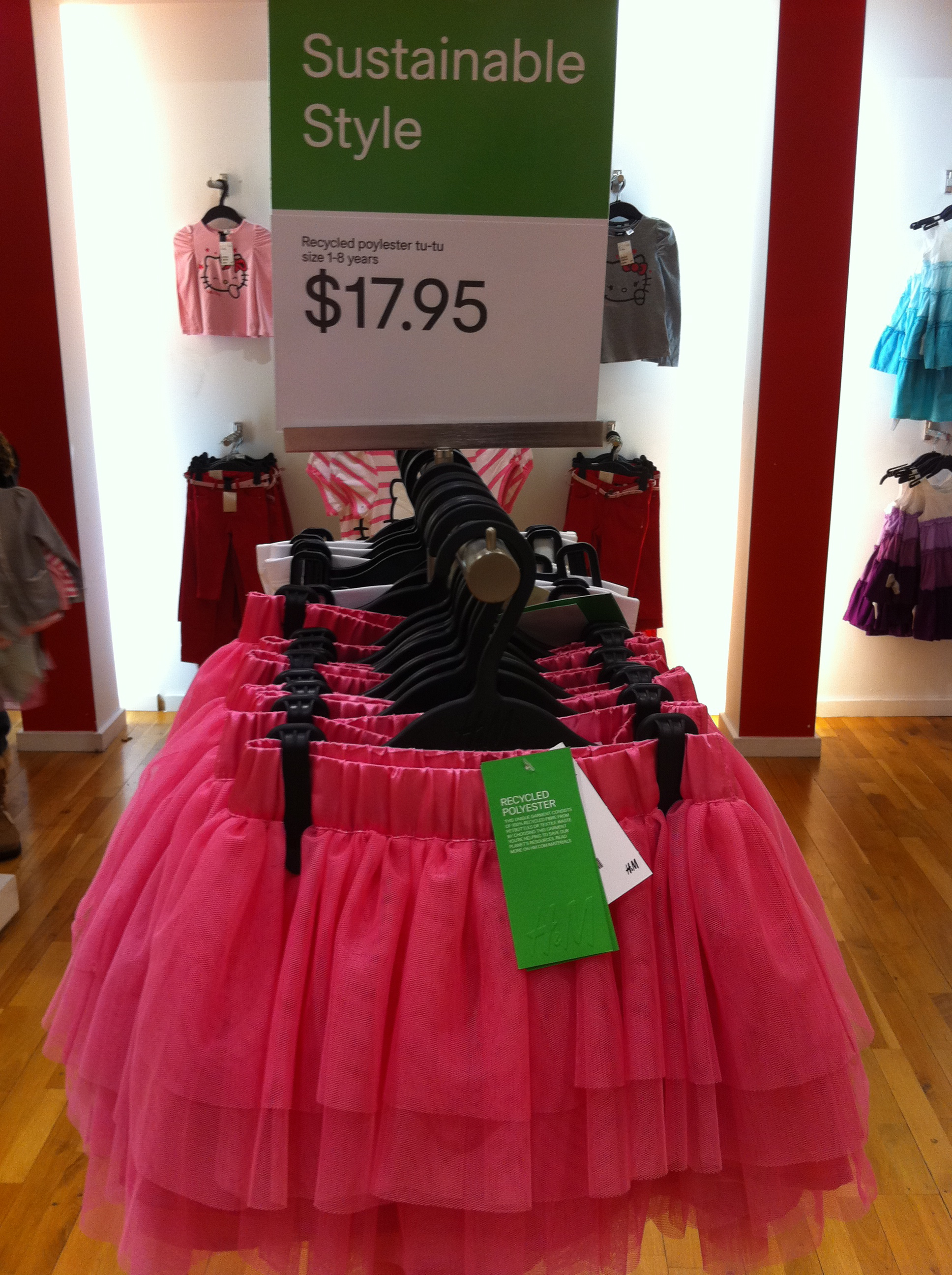 A girly tutu manufactured from recycled materials.