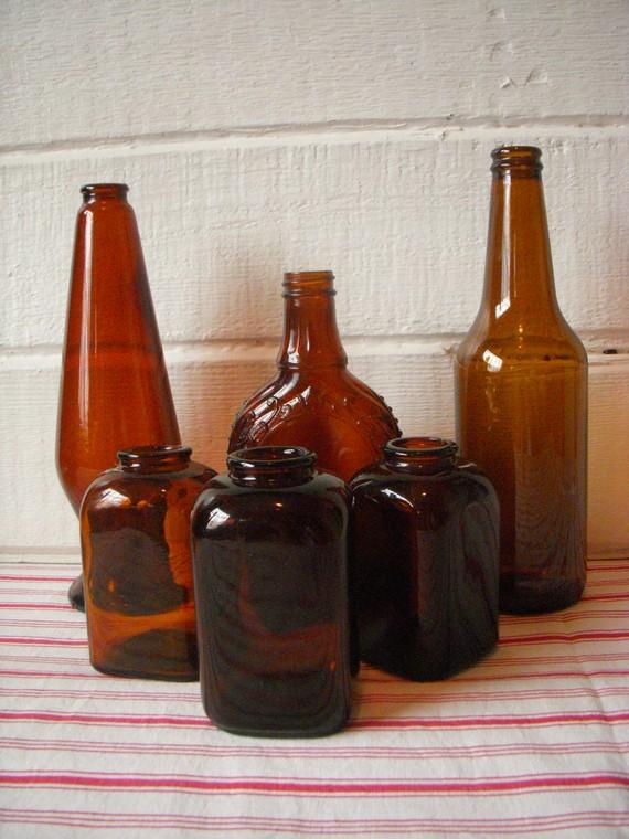 Etsy.com vintage amber bottles