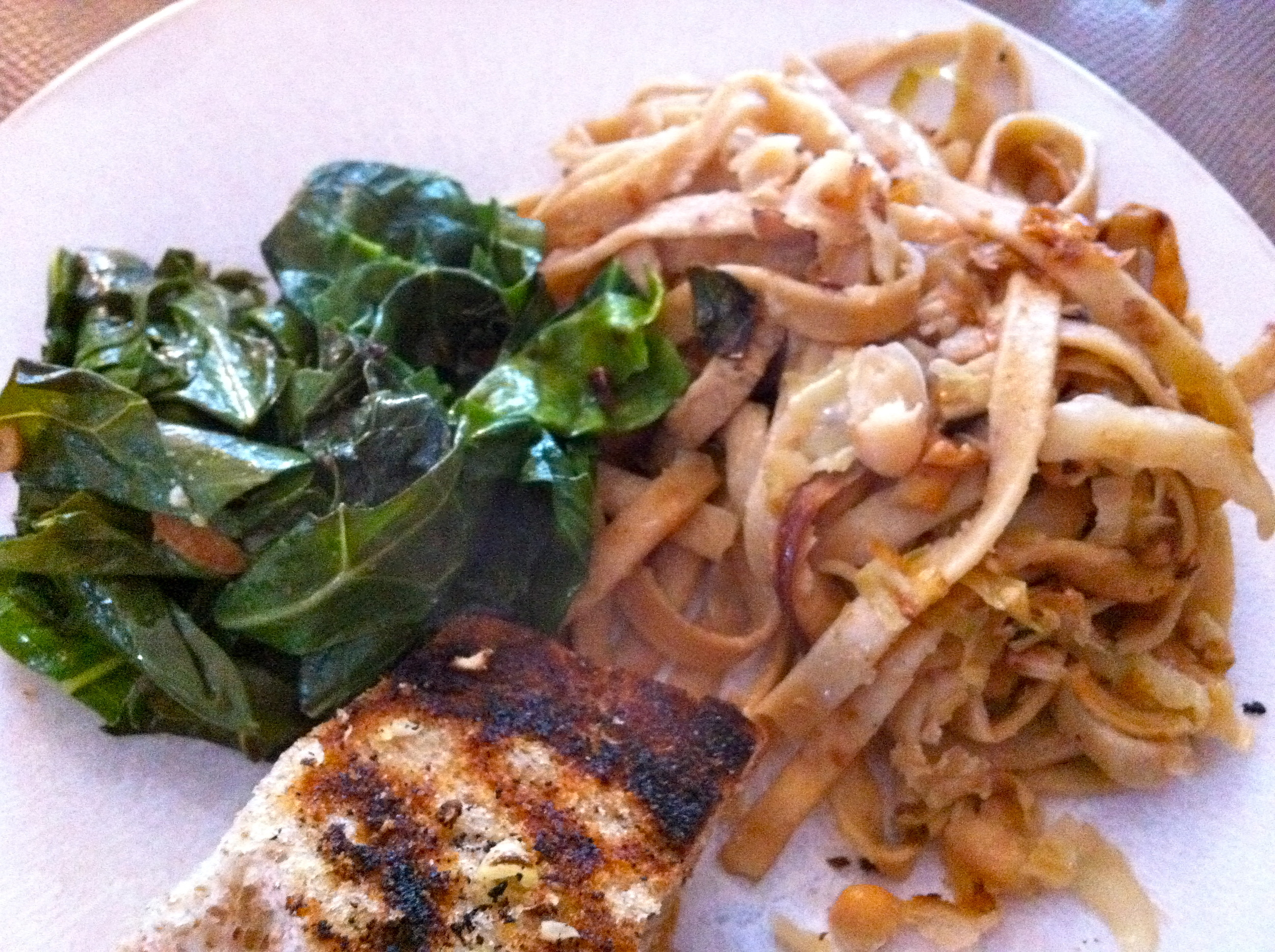 This mushroom pasta was delicious and perfect with greens and garlic bread.