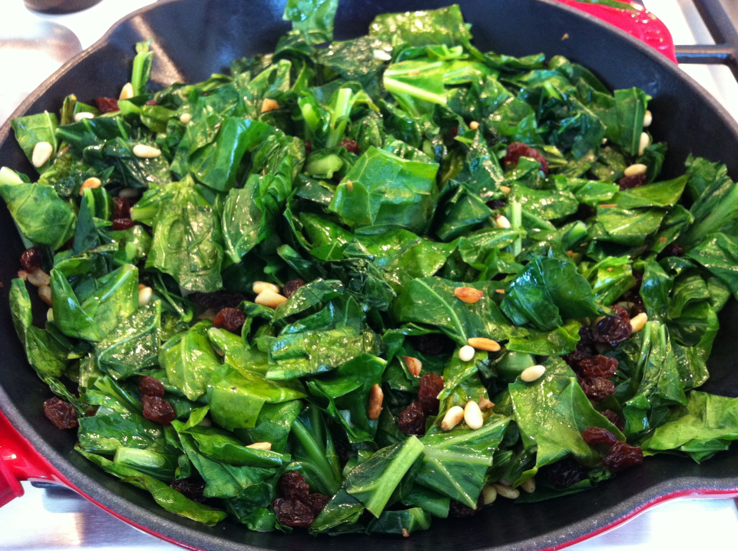 These collard greens are vegan and sweet and delicious.