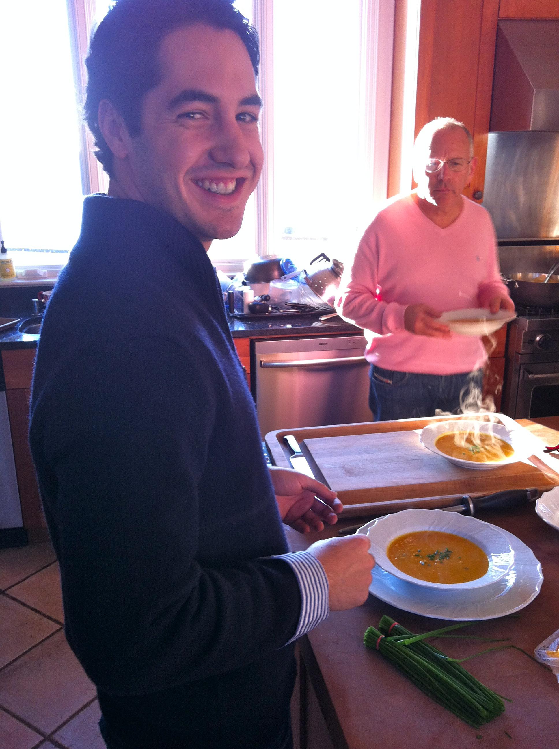 David Spodek and his vegan butternut squash soup