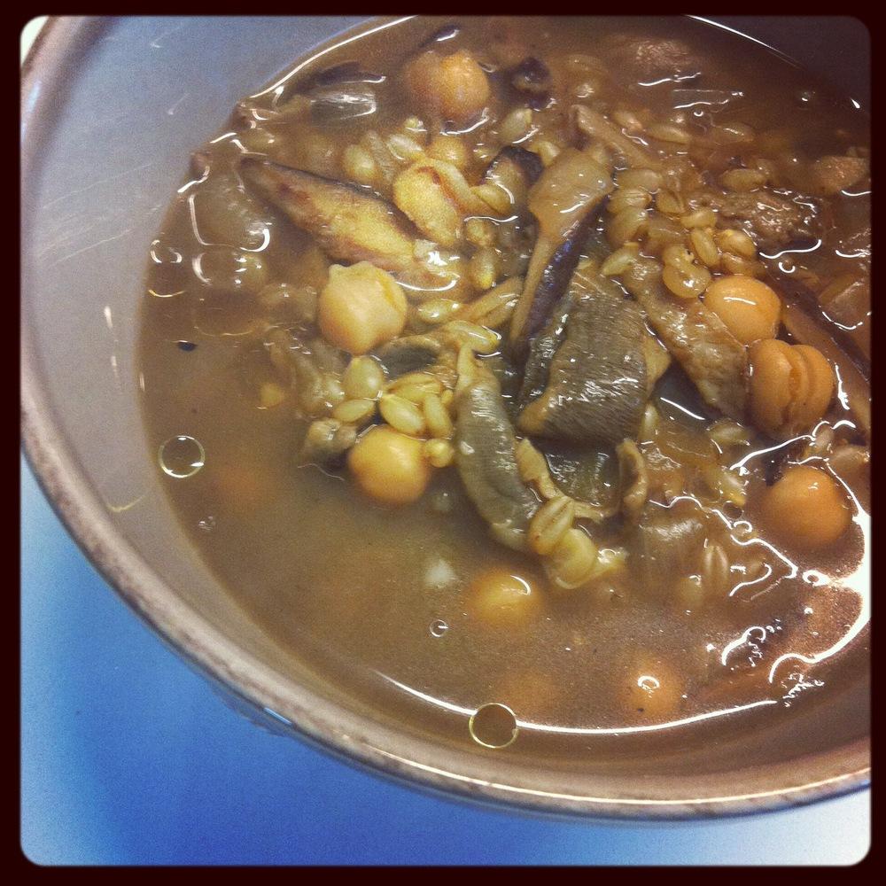 Love Life and Lollipops- Vegan Shiitake Porcini Barley and Chickpea Soup