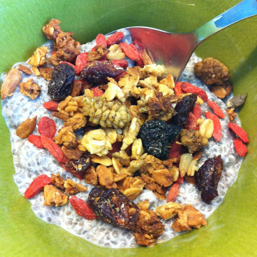 Love Life and Lollipops- Chia Pudding with Granola and Gogi Berries