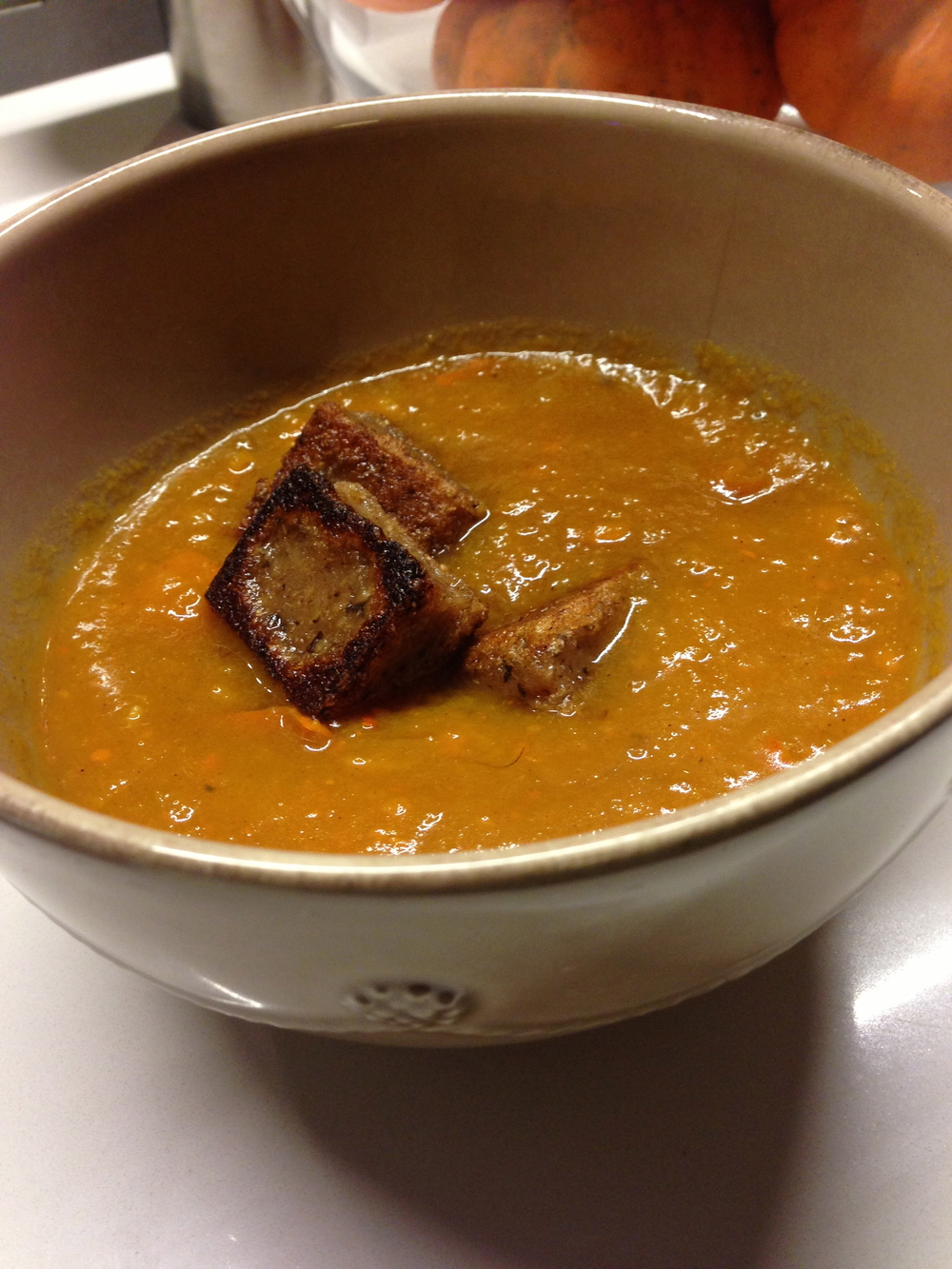 Love Life and Lollipops- Kabocha Squash Soup with Cinnamon Raisin Mochi