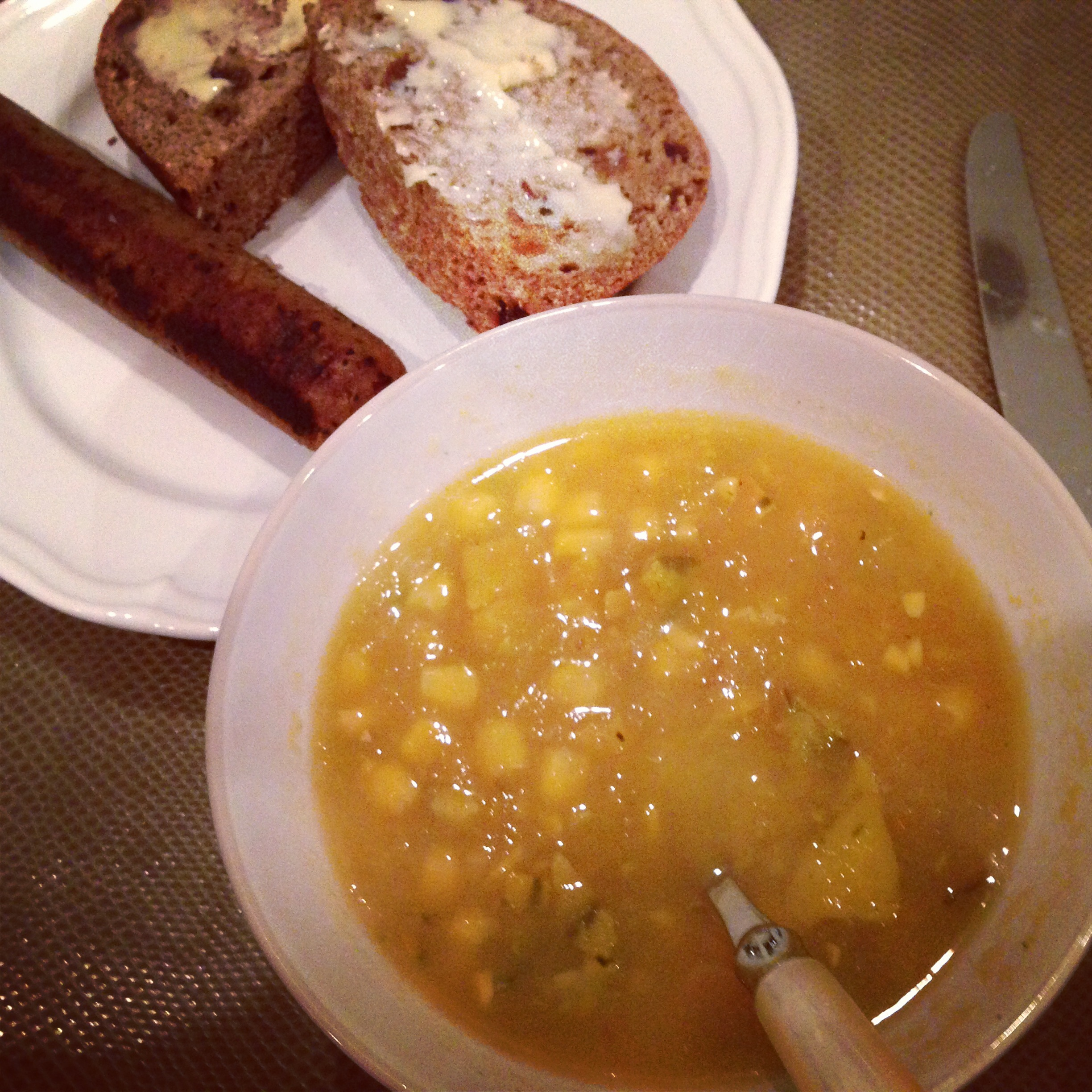 (A healing vegan dinner of corn bisque, Field Roast, and Sprouted bread with Earth Balance.)