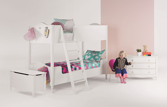 Cara Bunk Bed, £54 | Brights Bed Set, £39 | Mini Kitsch Chair, £45 a pair | Cara Chest of Drawers, £199