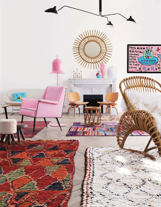 Adding colours and texture to a bland space is easy with Moroccan rugs. Image Source:  ideat magazine  .