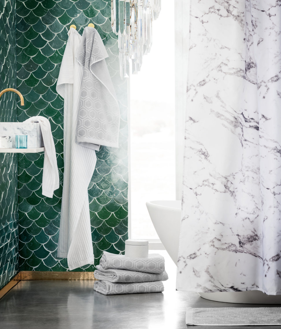 Funky shower curtains - 1 Marble Effect H M Home