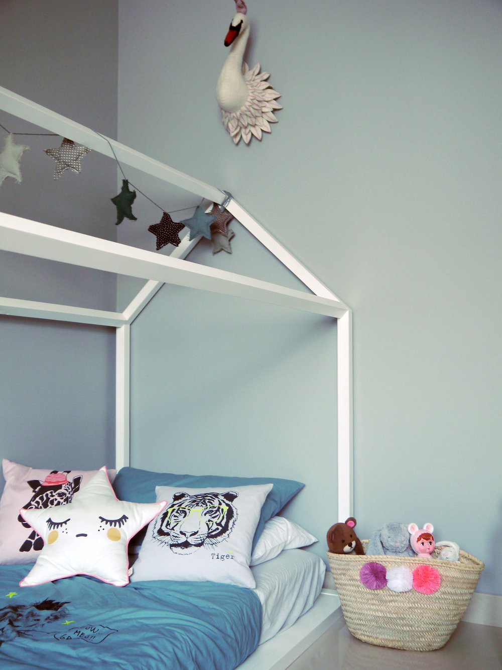 pompom basket heaven: A lovely addition to Stella's bedroom