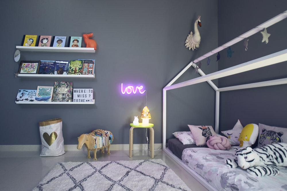 Stella's favourite piece: the LOVE neon sign. Photo credit: Aiza Domingo for  Baby & Child Magazine