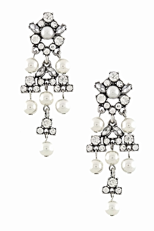 """Crystal Pearl Drop Earrings"" Only At Best Dressed!"