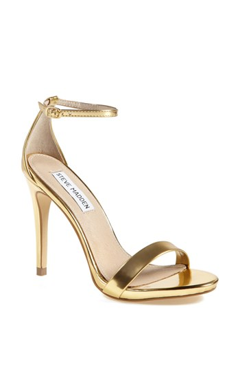 """Stecy Rose Gold Ankle Strap Heels"" By Steve Madden"