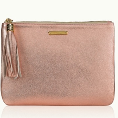 Rose Gold Metallic Goatskin Leather Clutch By GiGi New York