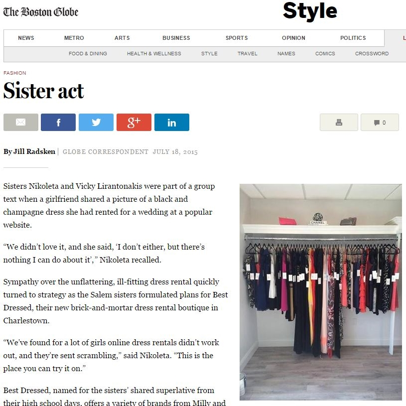 "Boston Globe Article ""Sister Act"""